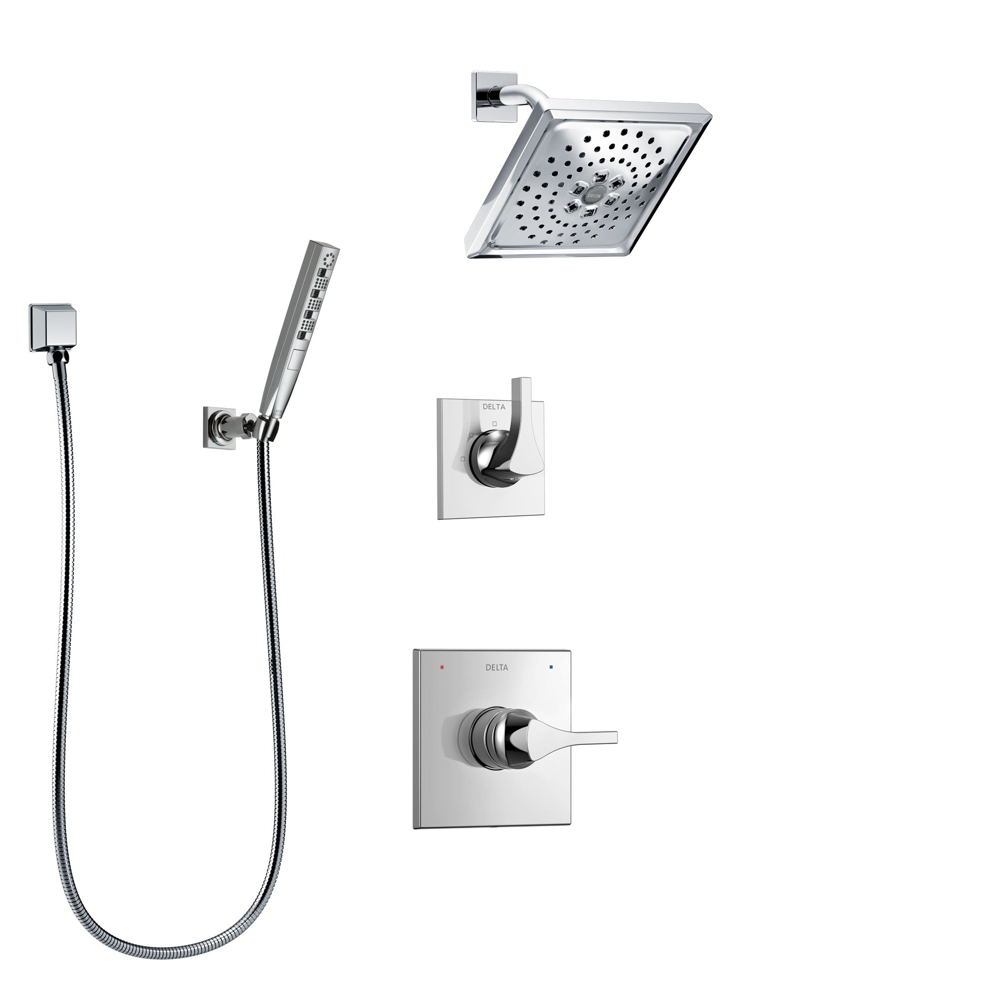 Delta Zura Chrome Finish Shower System with Control Handle, 3-Setting Diverter, Showerhead, and Hand Shower with Wall Bracket SS142745