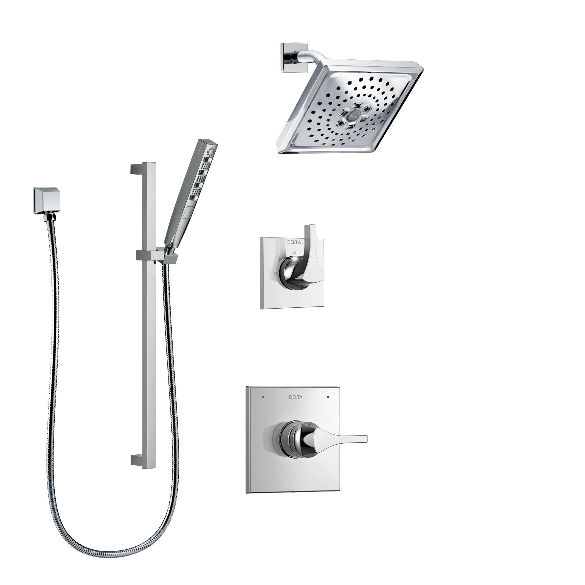Delta Zura Chrome Finish Shower System with Control Handle, 3-Setting Diverter, Showerhead, and Hand Shower with Slidebar SS142746