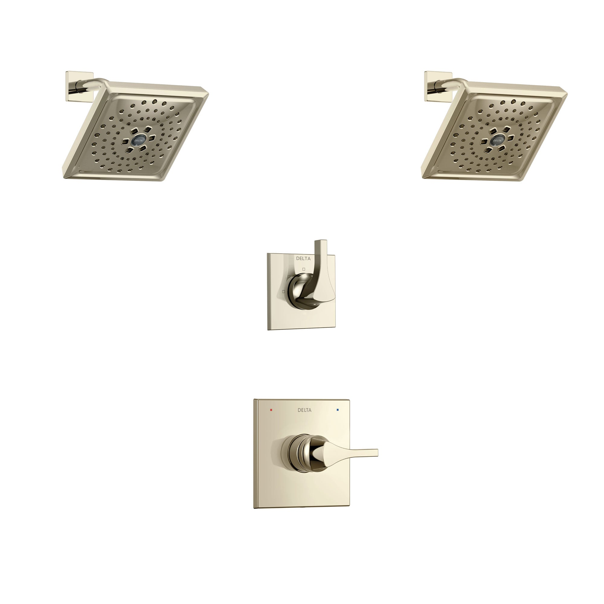 Delta Zura Polished Nickel Finish Shower System with Control Handle, 3-Setting Diverter, 2 Showerheads SS14274PN4