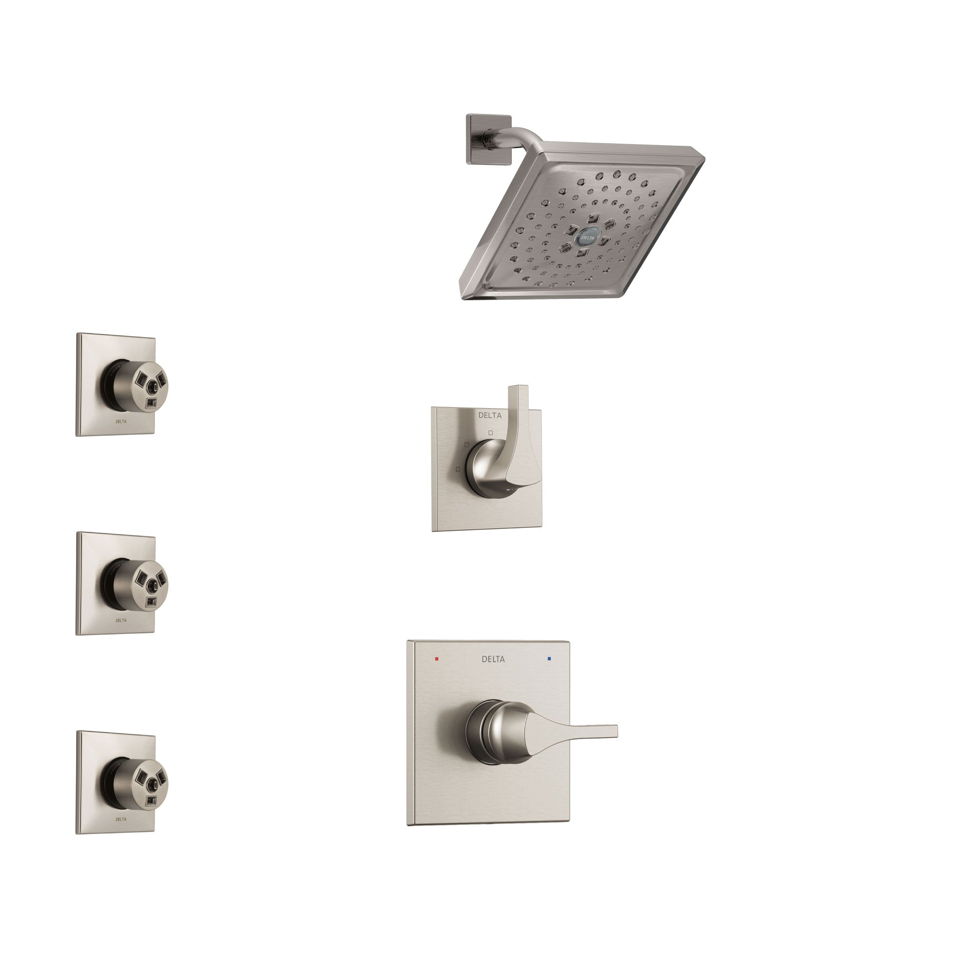 Delta Zura Stainless Steel Finish Shower System with Control Handle, 3-Setting Diverter, Showerhead, and 3 Body Sprays SS14274SS1