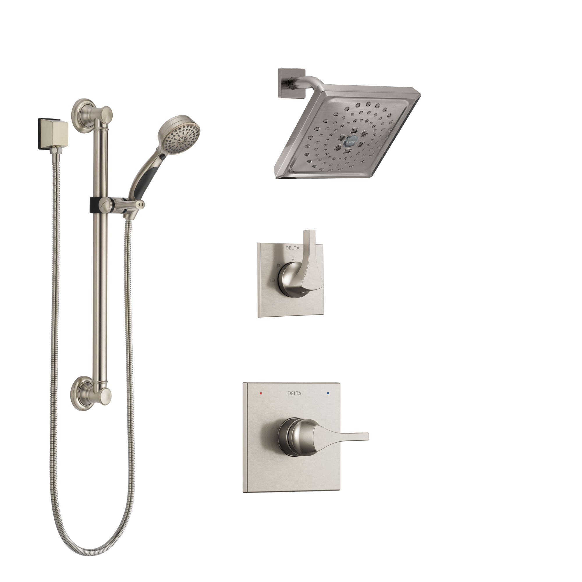 Delta Zura Stainless Steel Finish Shower System with Control Handle, 3-Setting Diverter, Showerhead, and Hand Shower with Grab Bar SS14274SS3