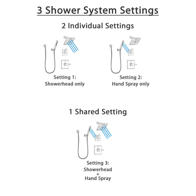Delta Zura Stainless Steel Finish Shower System with Control Handle, 3-Setting Diverter, Showerhead, and Hand Shower with Wall Bracket SS14274SS4