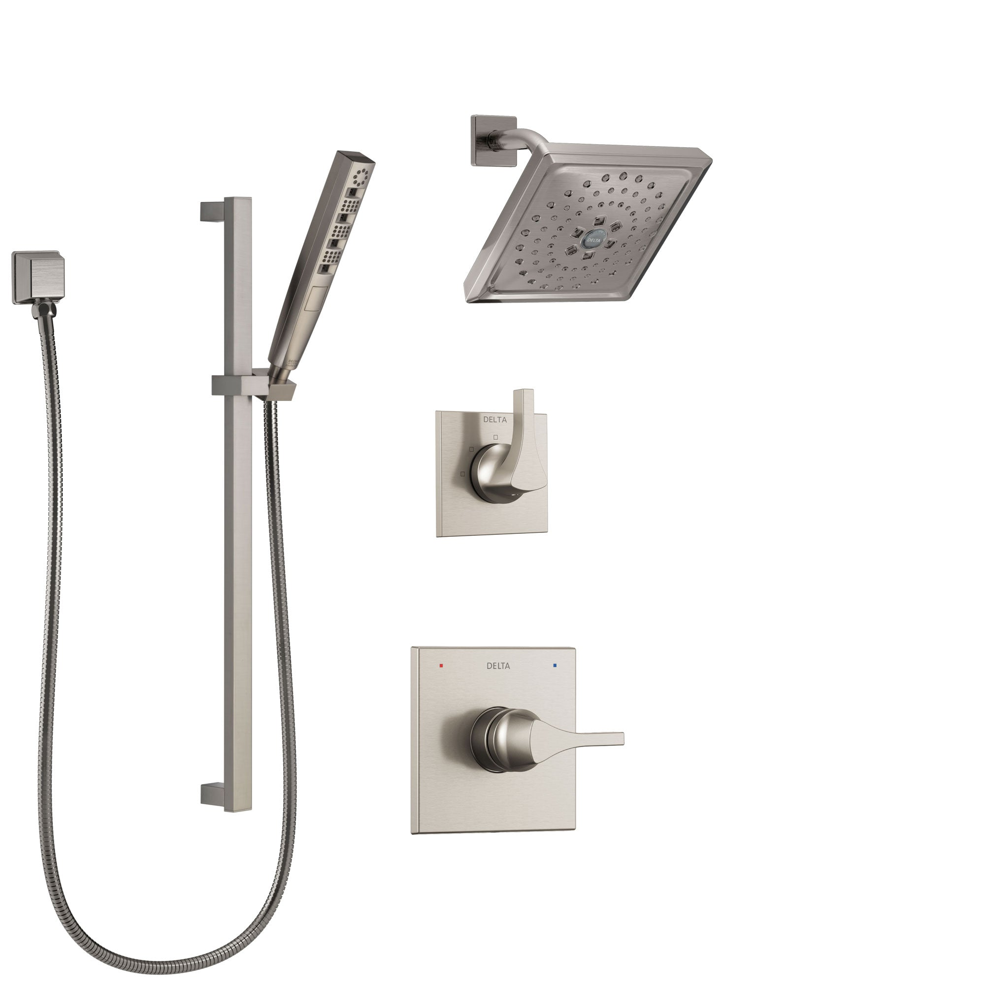 Delta Zura Stainless Steel Finish Shower System with Control Handle, 3-Setting Diverter, Showerhead, and Hand Shower with Slidebar SS14274SS5
