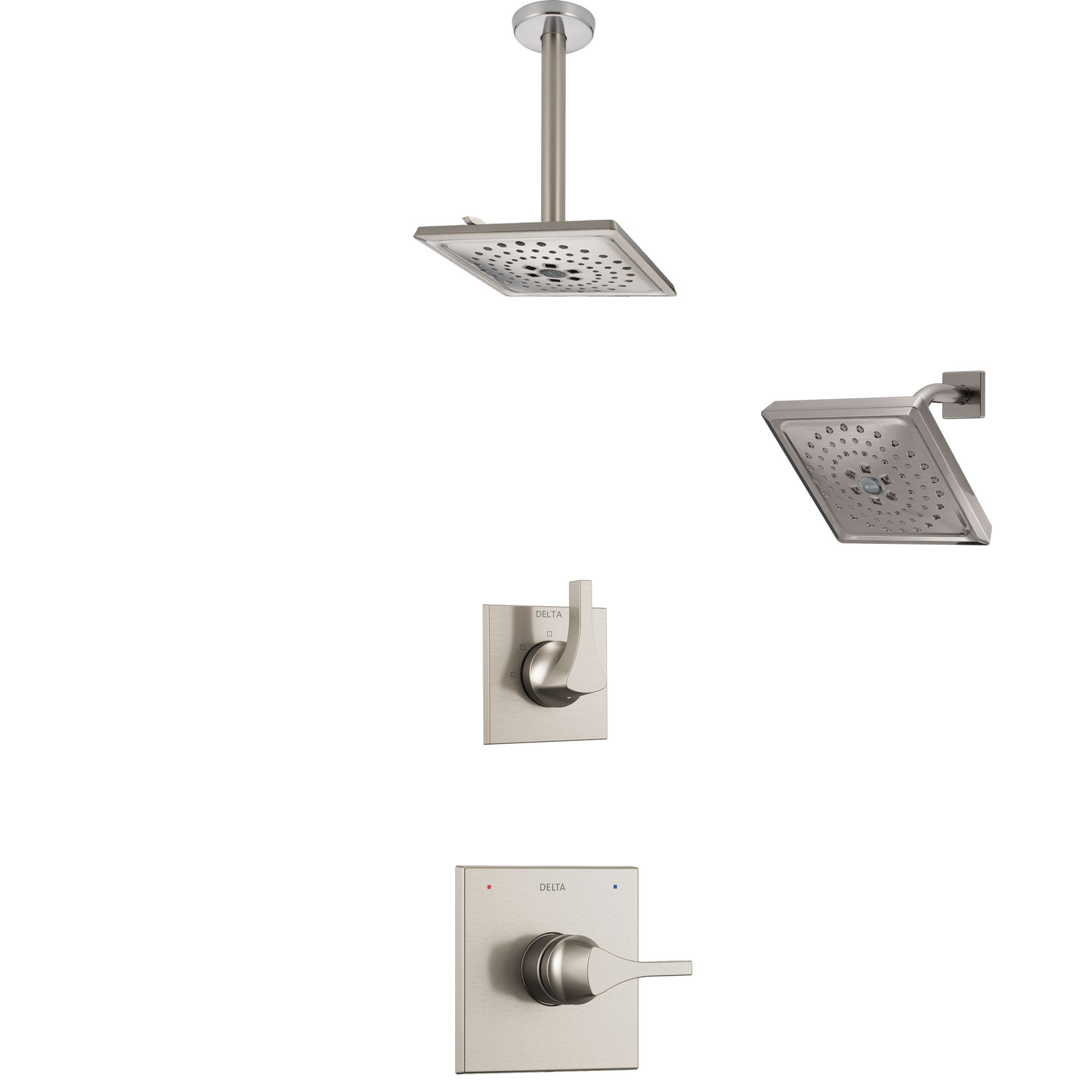 Delta Zura Stainless Steel Finish Shower System with Control Handle, 3-Setting Diverter, Showerhead, and Ceiling Mount Showerhead SS14274SS6
