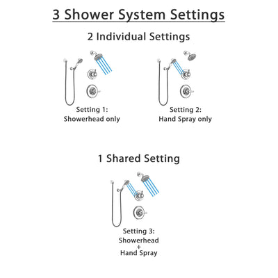 Delta Linden Chrome Finish Shower System with Control Handle, 3-Setting Diverter, Showerhead, and Hand Shower with Wall Bracket SS142933