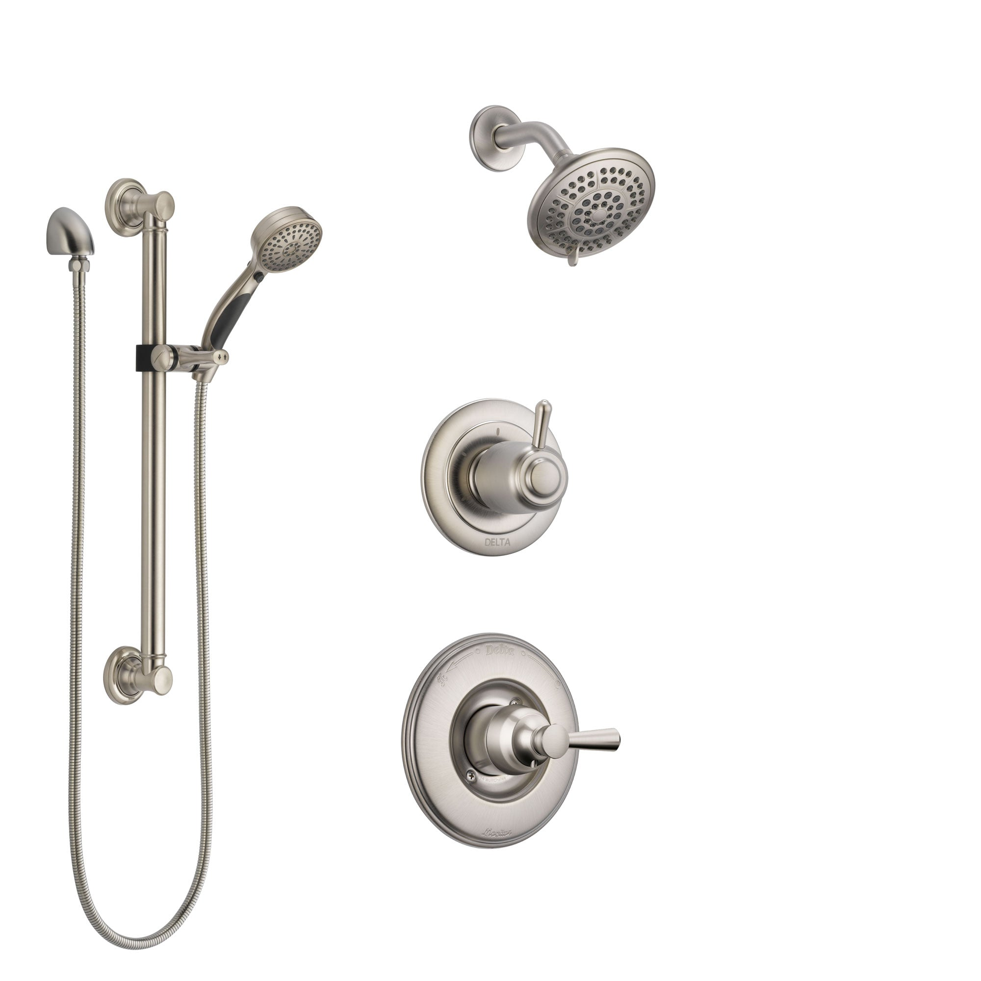 Delta Linden Stainless Steel Finish Shower System with Control Handle, 3-Setting Diverter, Showerhead, and Hand Shower with Grab Bar SS14293SS3