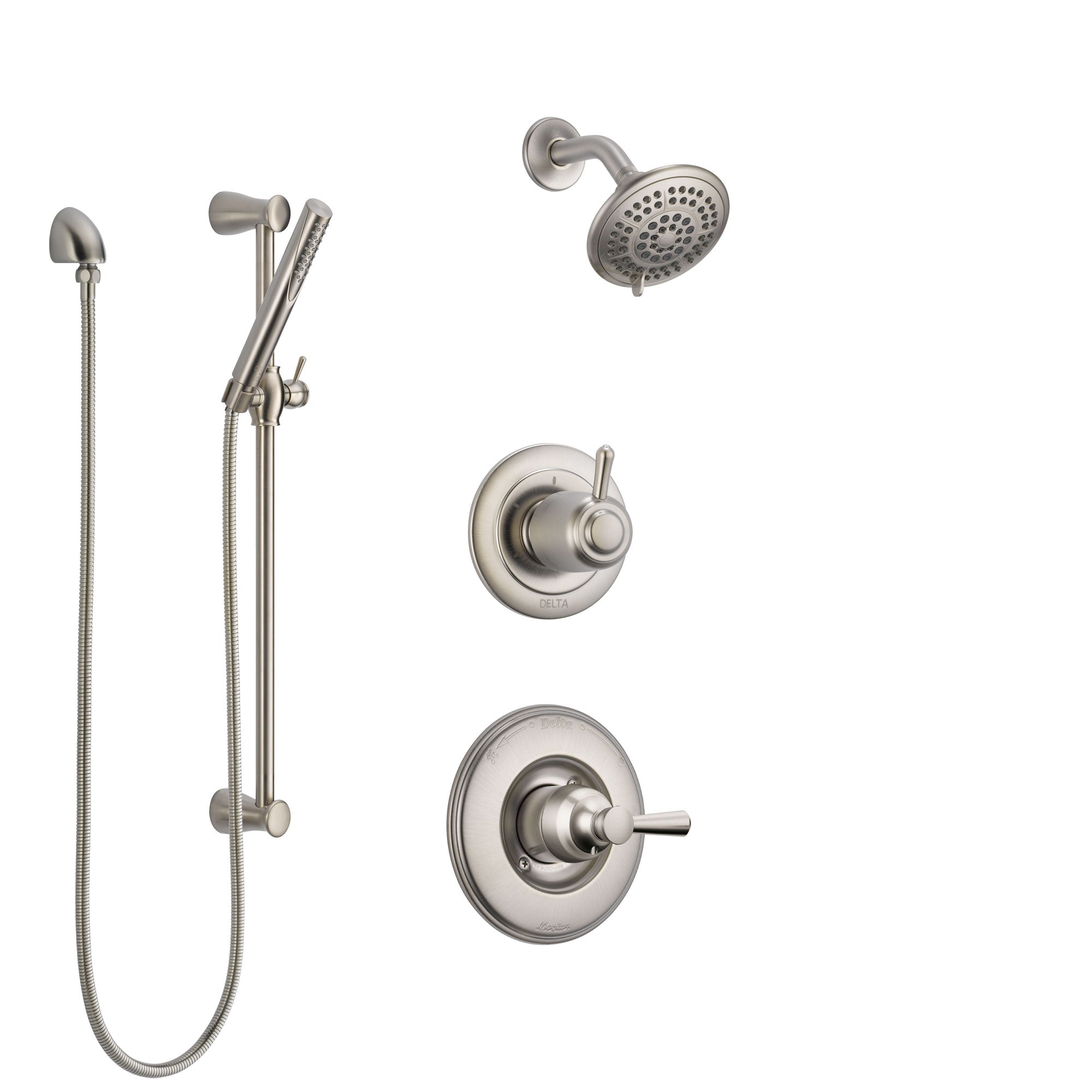 Delta Linden Stainless Steel Finish Shower System with Control Handle, 3-Setting Diverter, Showerhead, and Hand Shower with Slidebar SS14293SS4