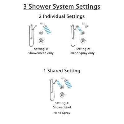 Delta Linden Chrome Finish Shower System with Control Handle, 3-Setting Diverter, Showerhead, and Hand Shower with Grab Bar SS1429414