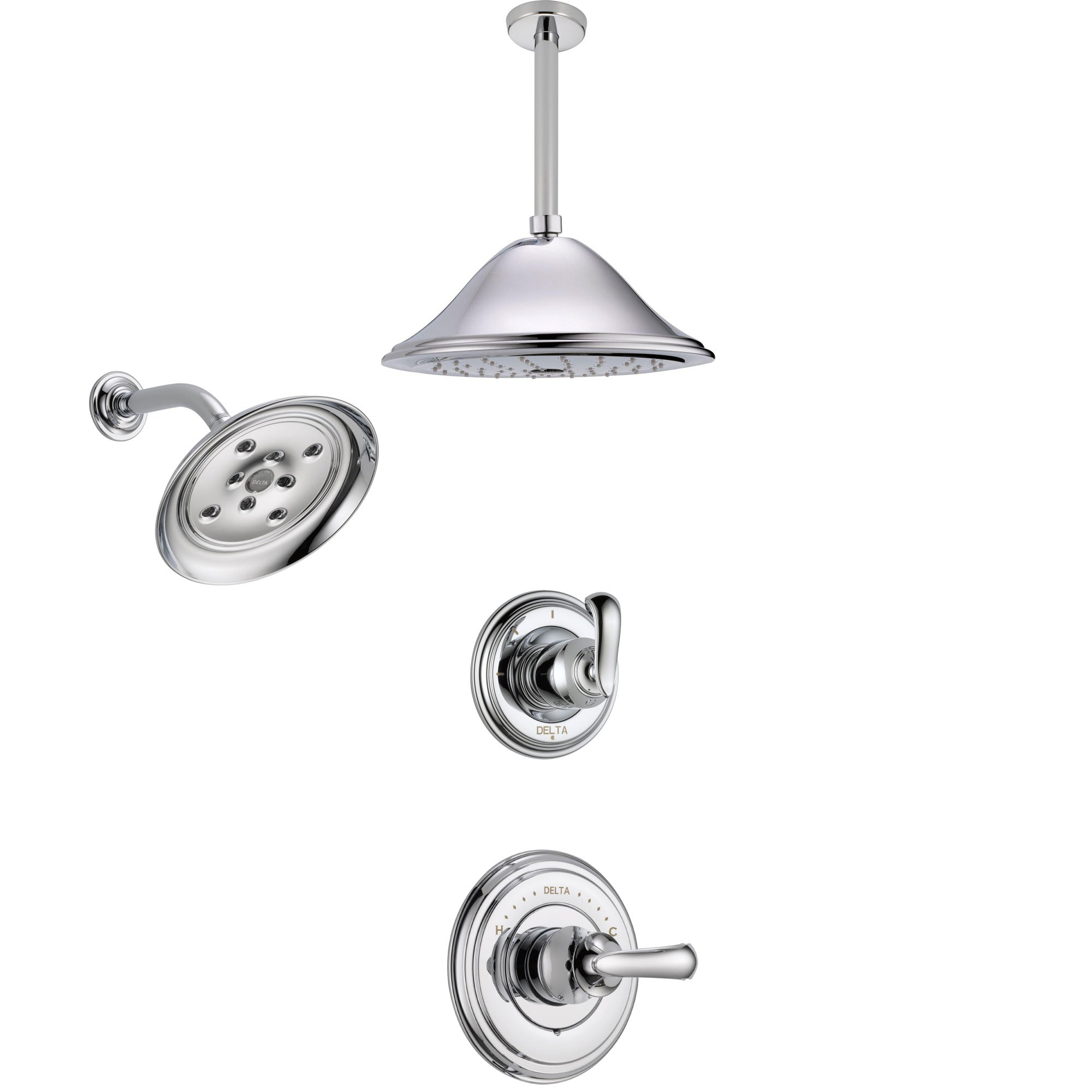 Delta Cassidy Chrome Finish Shower System with Control Handle, 3-Setting Diverter, Showerhead, and Ceiling Mount Showerhead SS1429716