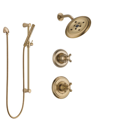 Delta Cassidy Champagne Bronze Finish Shower System with Control Handle, 3-Setting Diverter, Showerhead, and Hand Shower with Slidebar SS142971CZ2