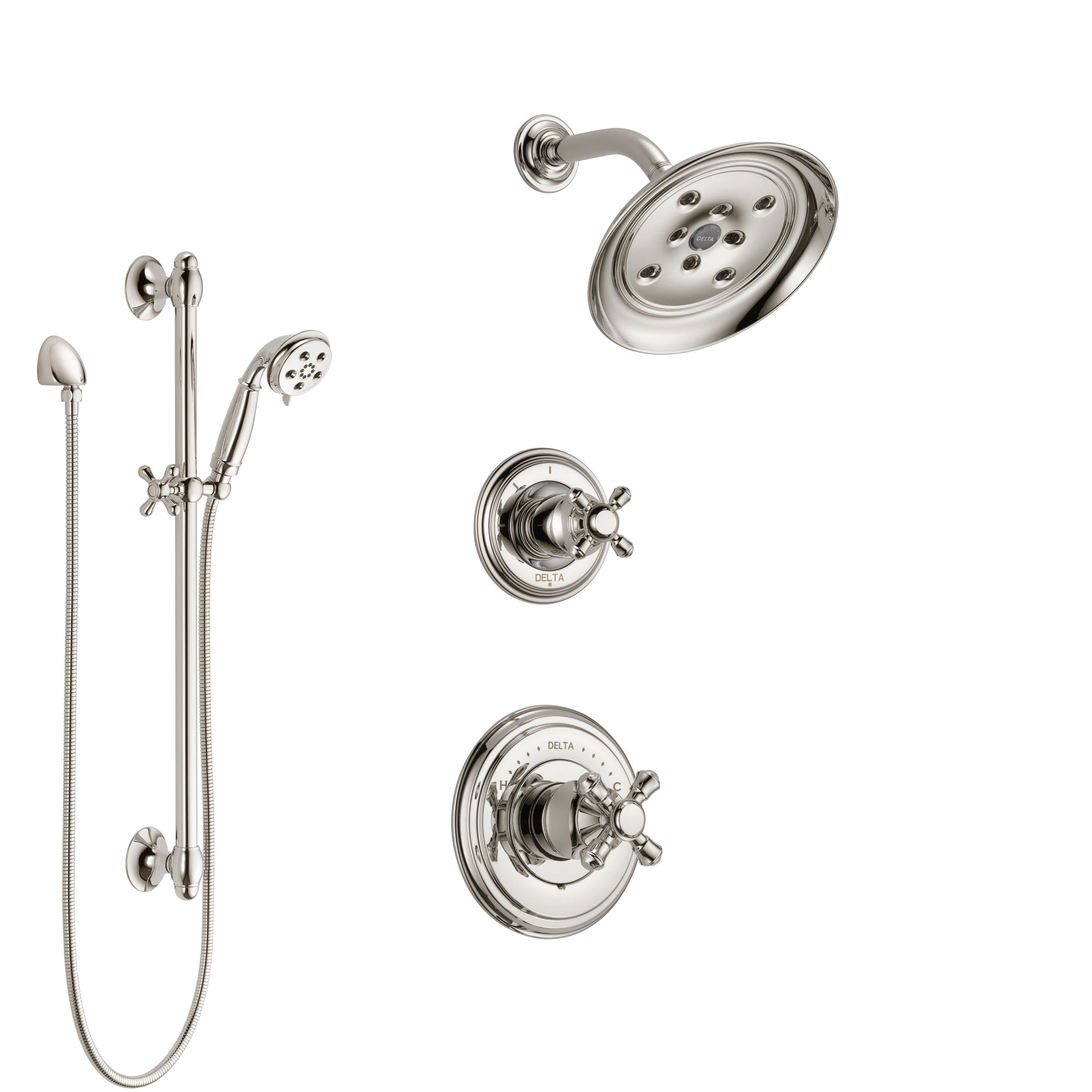 Delta Cassidy Polished Nickel Finish Shower System with Control Handle, 3-Setting Diverter, Showerhead, and Hand Shower with Slidebar SS142971PN2