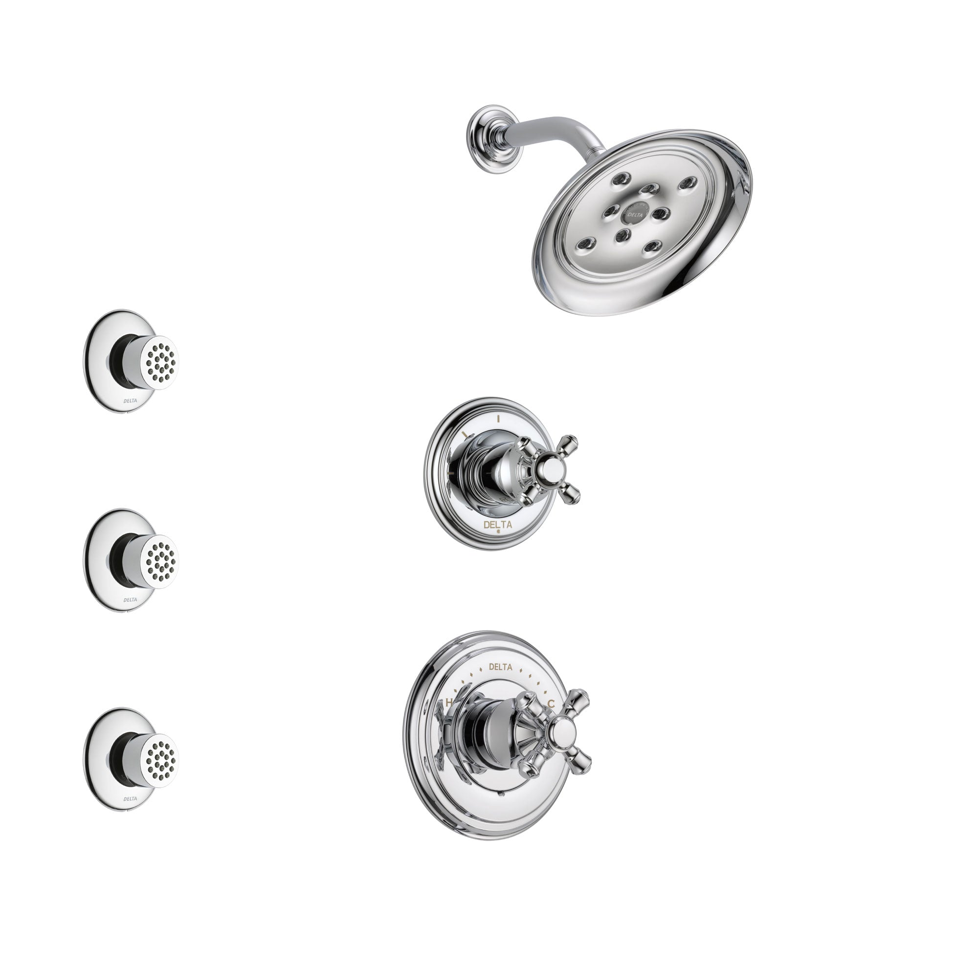 Delta Cassidy Chrome Finish Shower System with Control Handle, 3-Setting Diverter, Showerhead, and 3 Body Sprays SS1429721