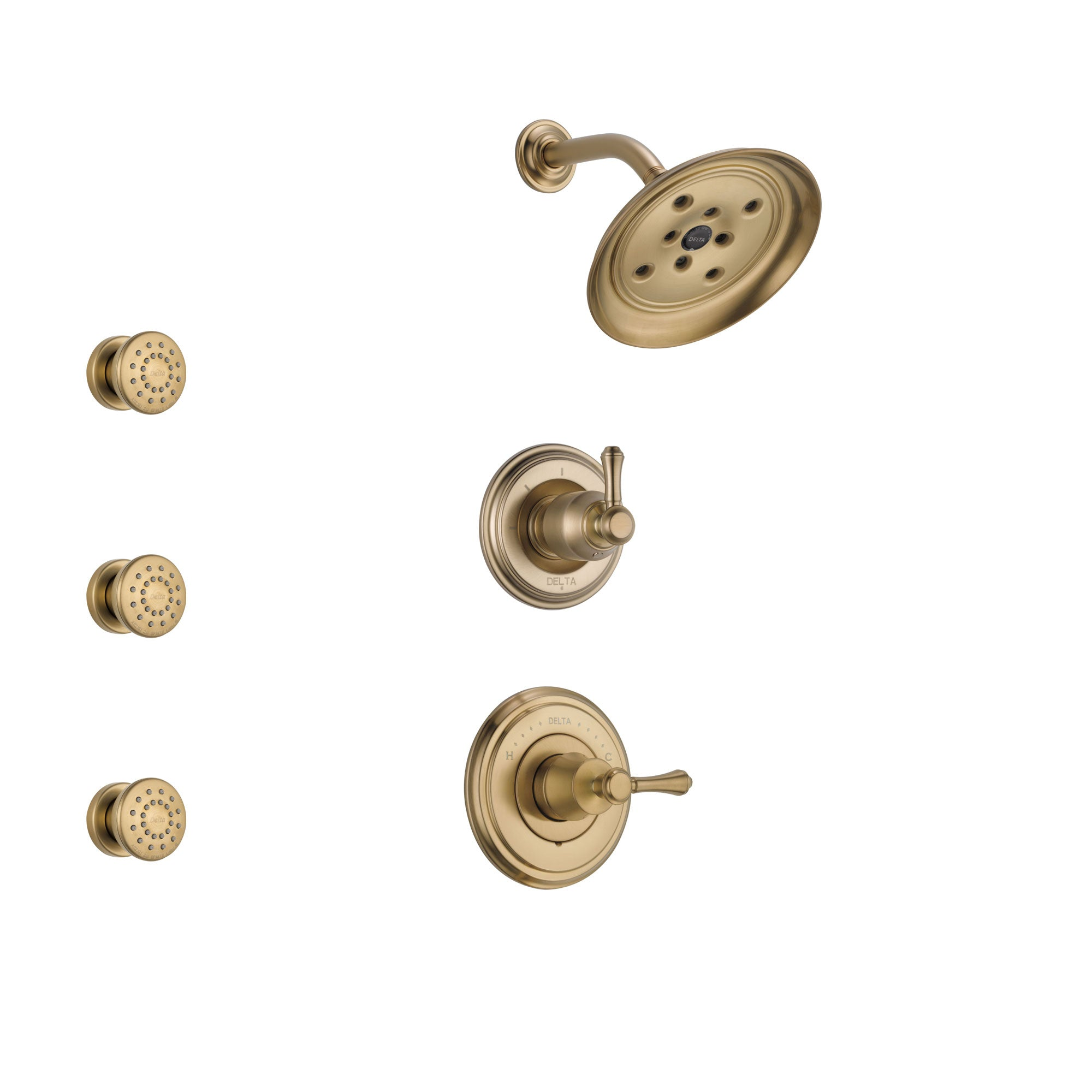 Delta Cassidy Champagne Bronze Finish Shower System with Control Handle, 3-Setting Diverter, Showerhead, and 3 Body Sprays SS142972CZ1