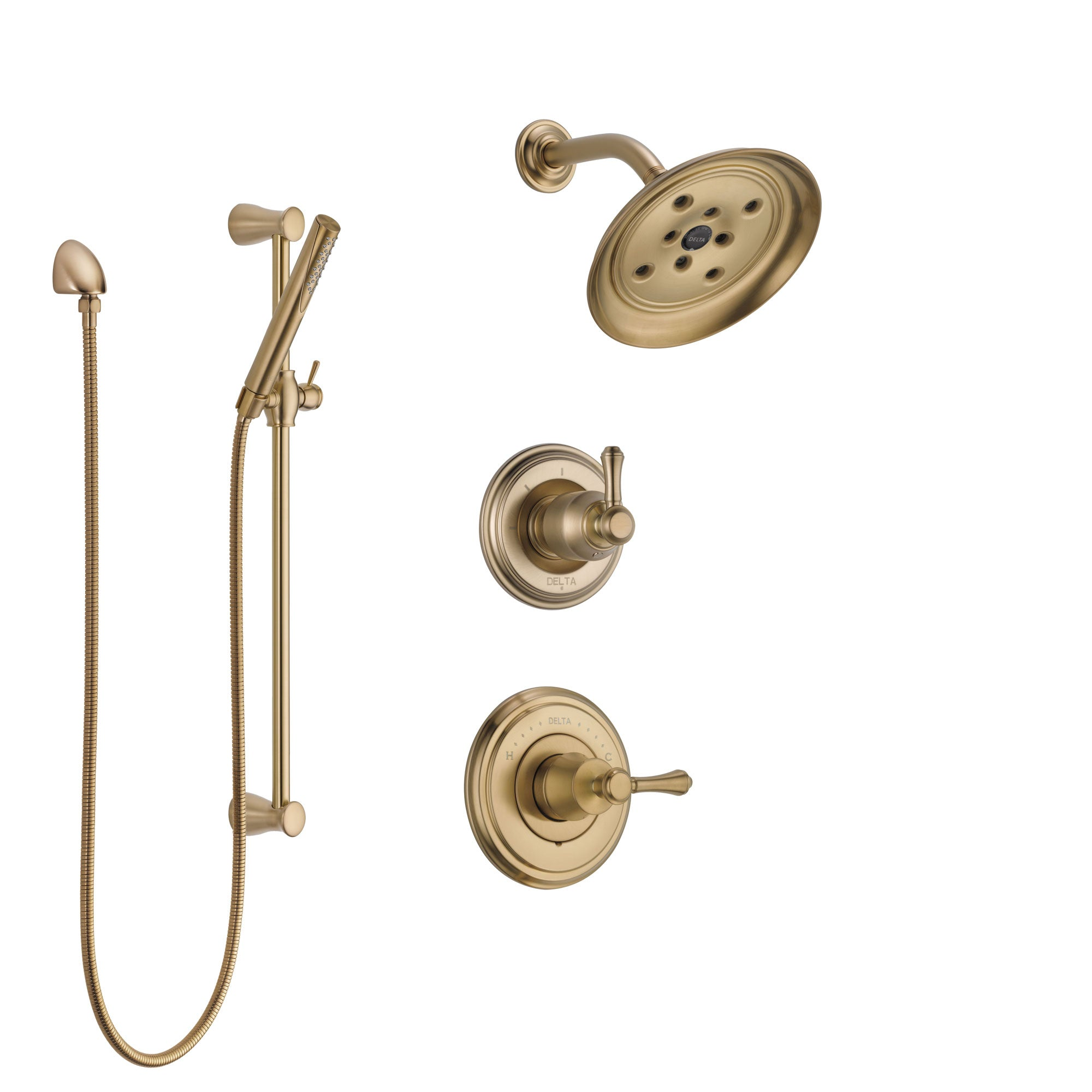 Delta Cassidy Champagne Bronze Finish Shower System with Control Handle, 3-Setting Diverter, Showerhead, and Hand Shower with Slidebar SS142972CZ2