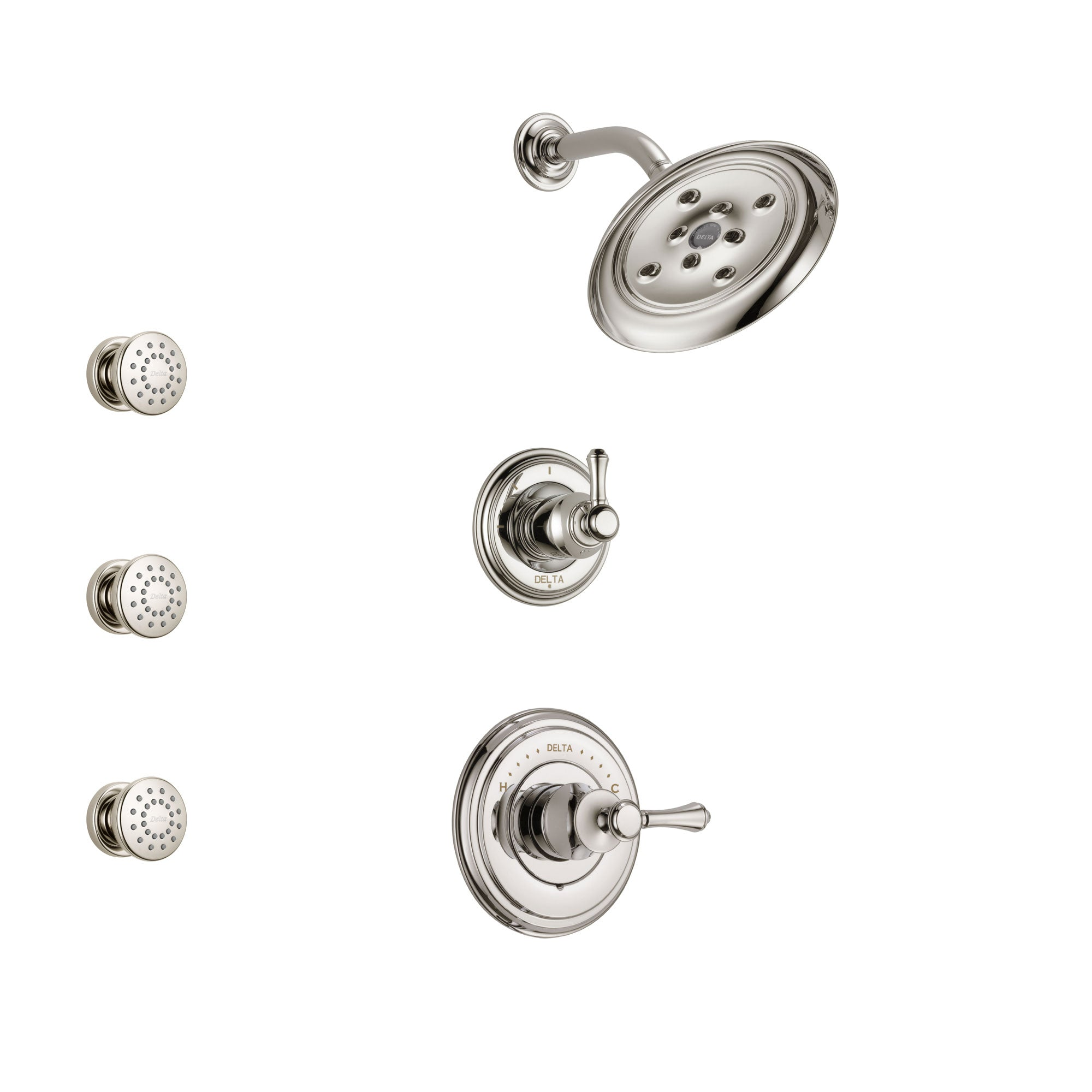 Delta Cassidy Polished Nickel Finish Shower System with Control Handle, 3-Setting Diverter, Showerhead, and 3 Body Sprays SS142972PN1