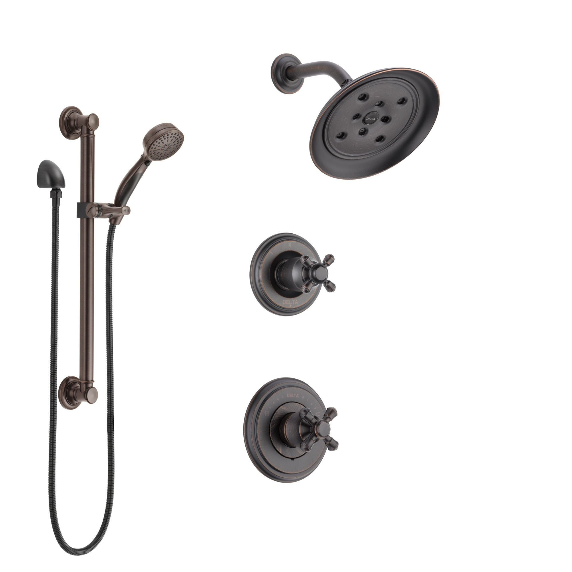 Delta Cassidy Venetian Bronze Finish Shower System with Control Handle, 3-Setting Diverter, Showerhead, and Hand Shower with Grab Bar SS142972RB3