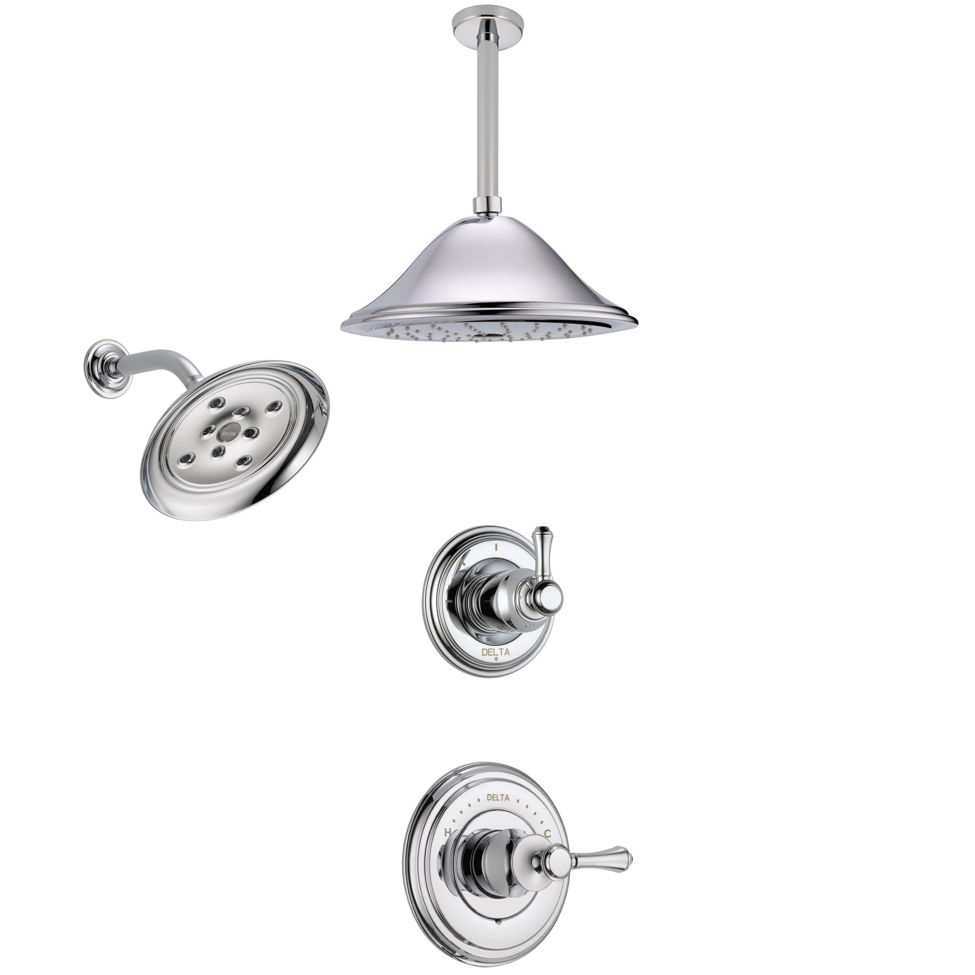 Delta Cassidy Chrome Finish Shower System with Control Handle, 3-Setting Diverter, Showerhead, and Ceiling Mount Showerhead SS1429736