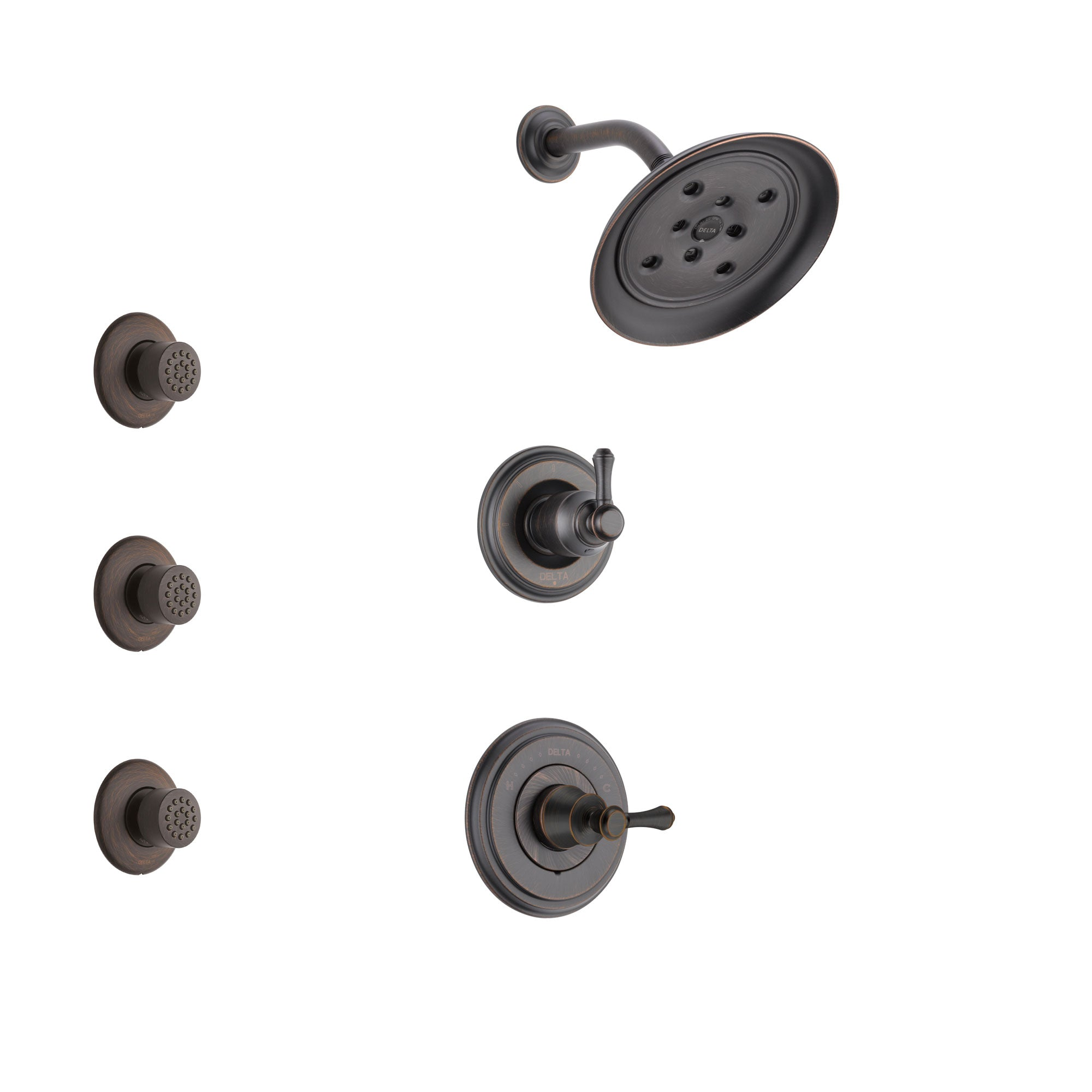 Delta Cassidy Venetian Bronze Finish Shower System with Control Handle, 3-Setting Diverter, Showerhead, and 3 Body Sprays SS142973RB1