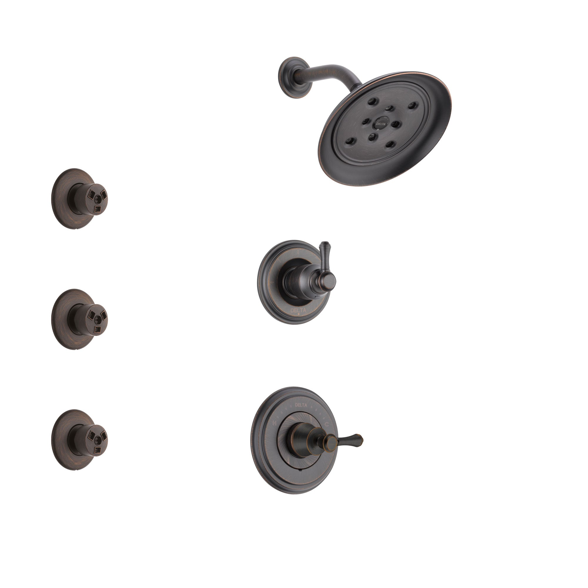 Delta Cassidy Venetian Bronze Finish Shower System with Control Handle, 3-Setting Diverter, Showerhead, and 3 Body Sprays SS142973RB2