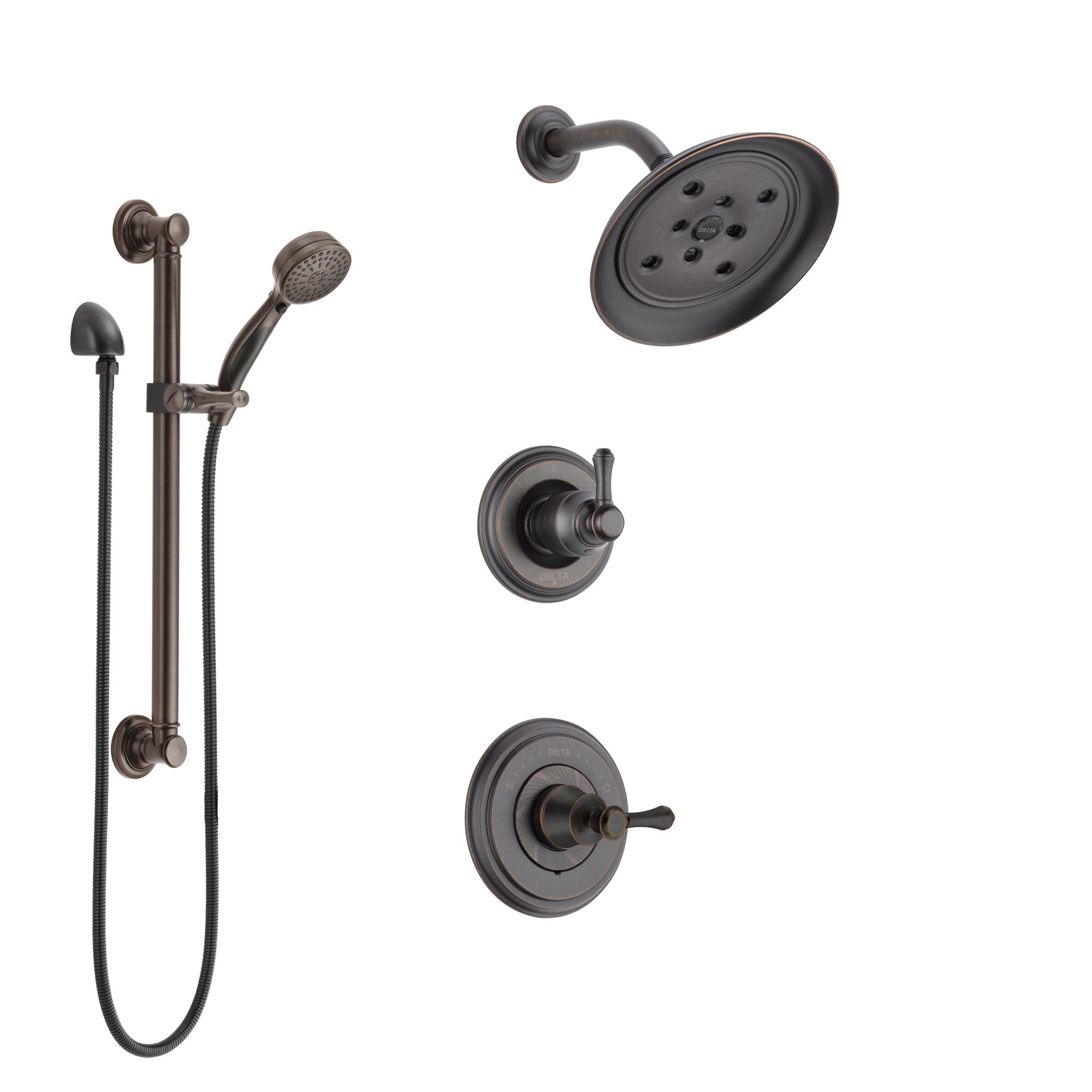 Delta Cassidy Venetian Bronze Finish Shower System with Control Handle, 3-Setting Diverter, Showerhead, and Hand Shower with Grab Bar SS142973RB3
