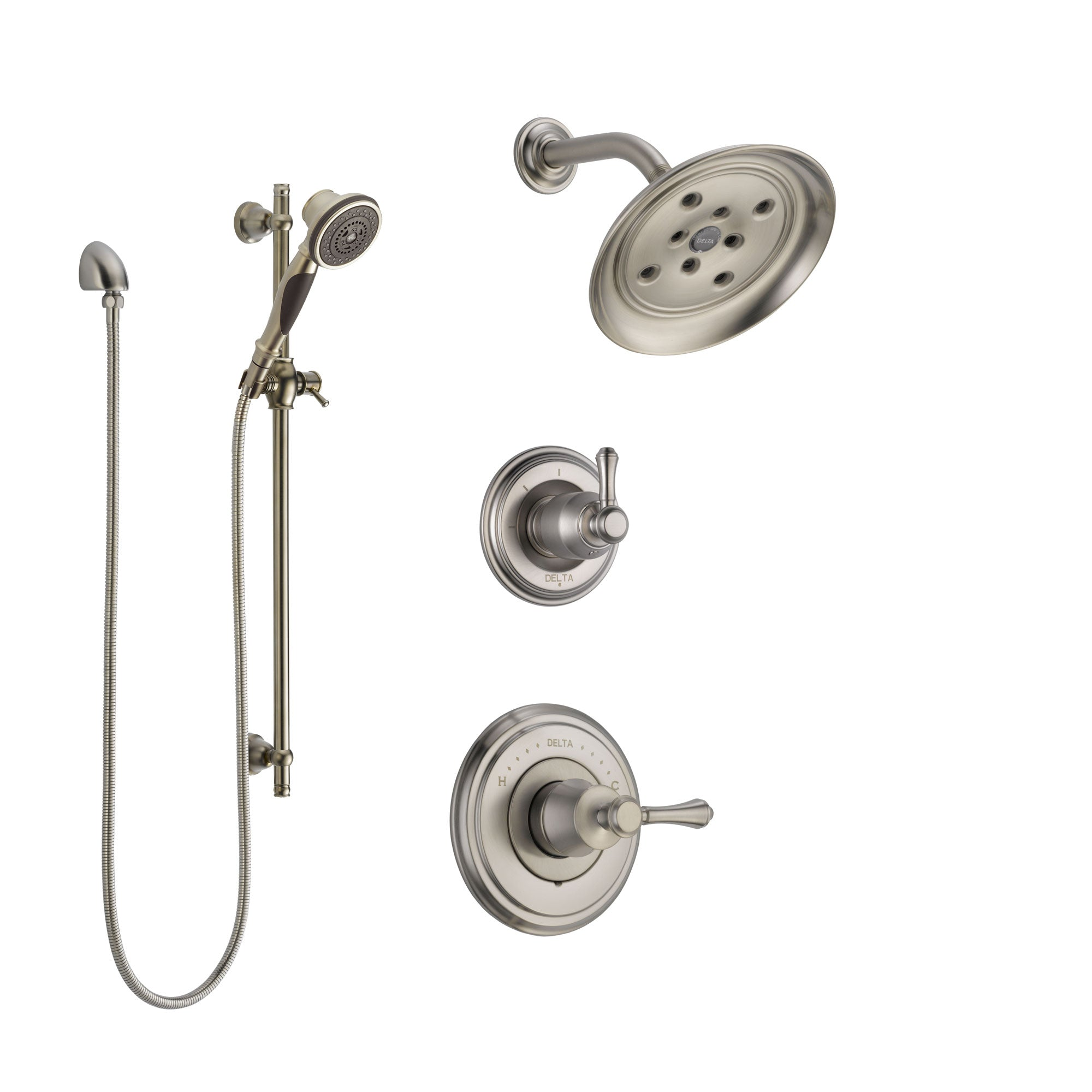Delta Cassidy Stainless Steel Finish Shower System with Control Handle, 3-Setting Diverter, Showerhead, and Hand Shower with Slidebar SS142973SS4