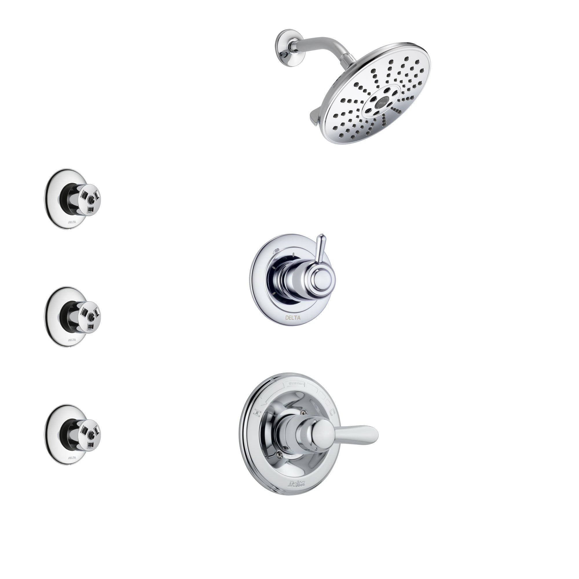 Delta Lahara Chrome Finish Shower System with Control Handle, 3-Setting Diverter, Showerhead, and 3 Body Sprays SS14381