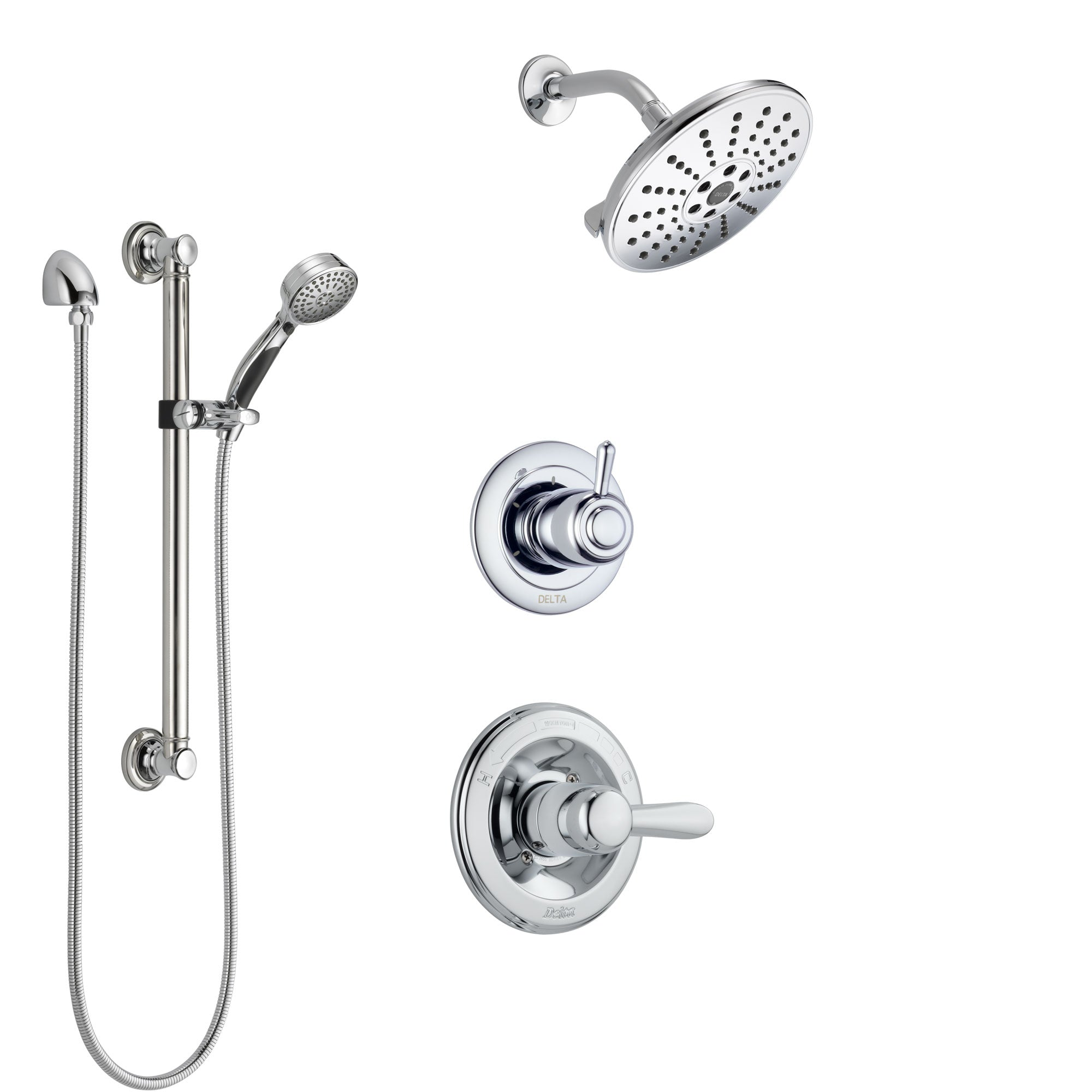 Delta Lahara Chrome Finish Shower System with Control Handle, 3-Setting Diverter, Showerhead, and Hand Shower with Grab Bar SS14382
