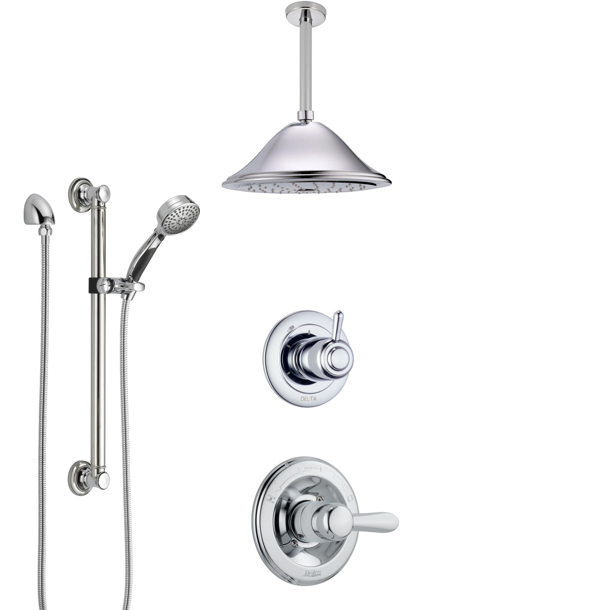 Delta Lahara Chrome Finish Shower System with Control Handle, 3-Setting Diverter, Ceiling Mount Showerhead, and Hand Shower with Grab Bar SS14384