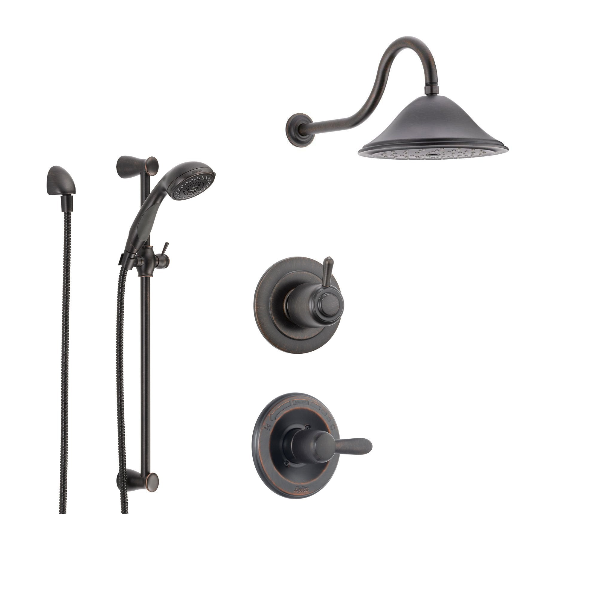Delta Lahara Venetian Bronze Shower System with Normal Shower Handle, 3-setting Diverter, Large Rain Showerhead, and Handheld Shower SS143881RB