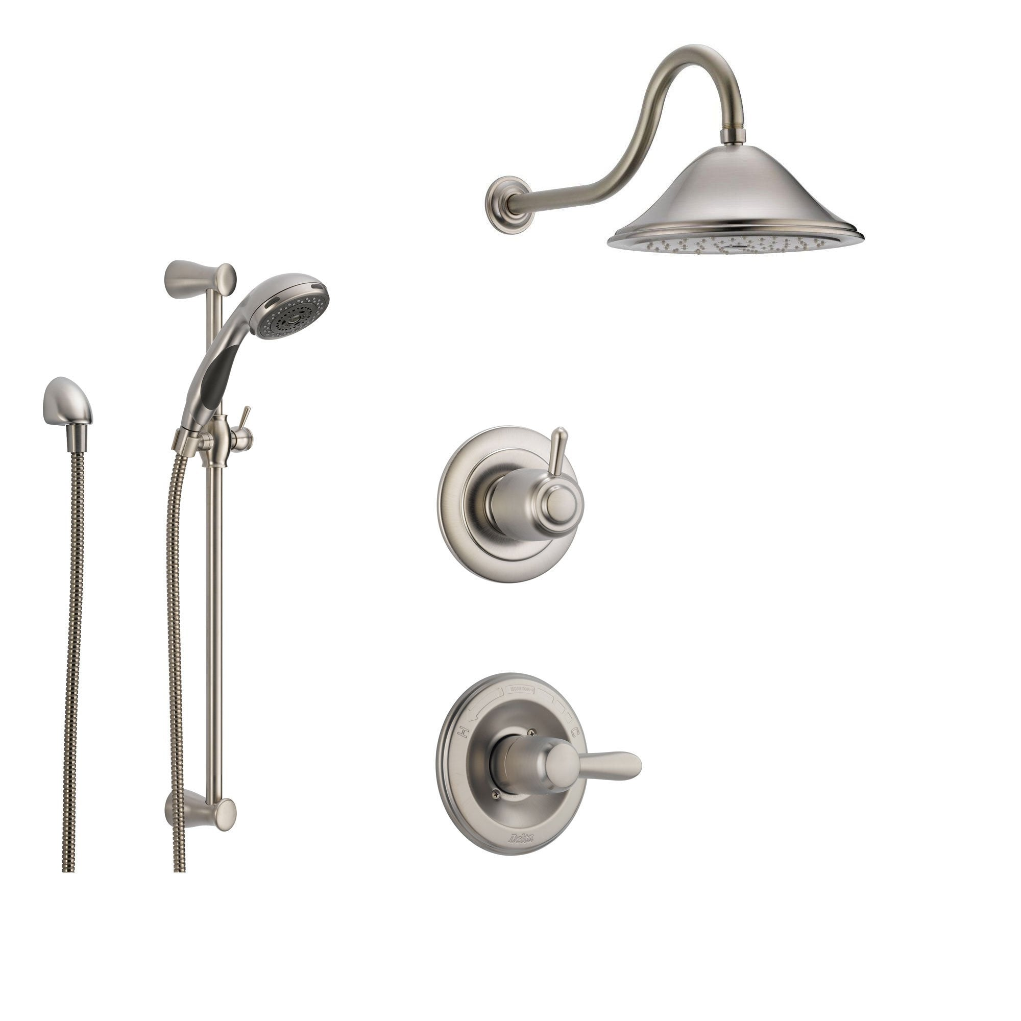 Delta Lahara Stainless Steel Shower System with Normal Shower Handle, 3-setting Diverter, Large Rain Showerhead, and Handheld Shower SS143881SS