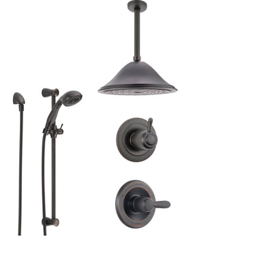 Delta Lahara Venetian Bronze Shower System with Normal Shower Handle, 3-setting Diverter, Large Ceiling Mount Shower Head, and Handheld Shower SS143882RB
