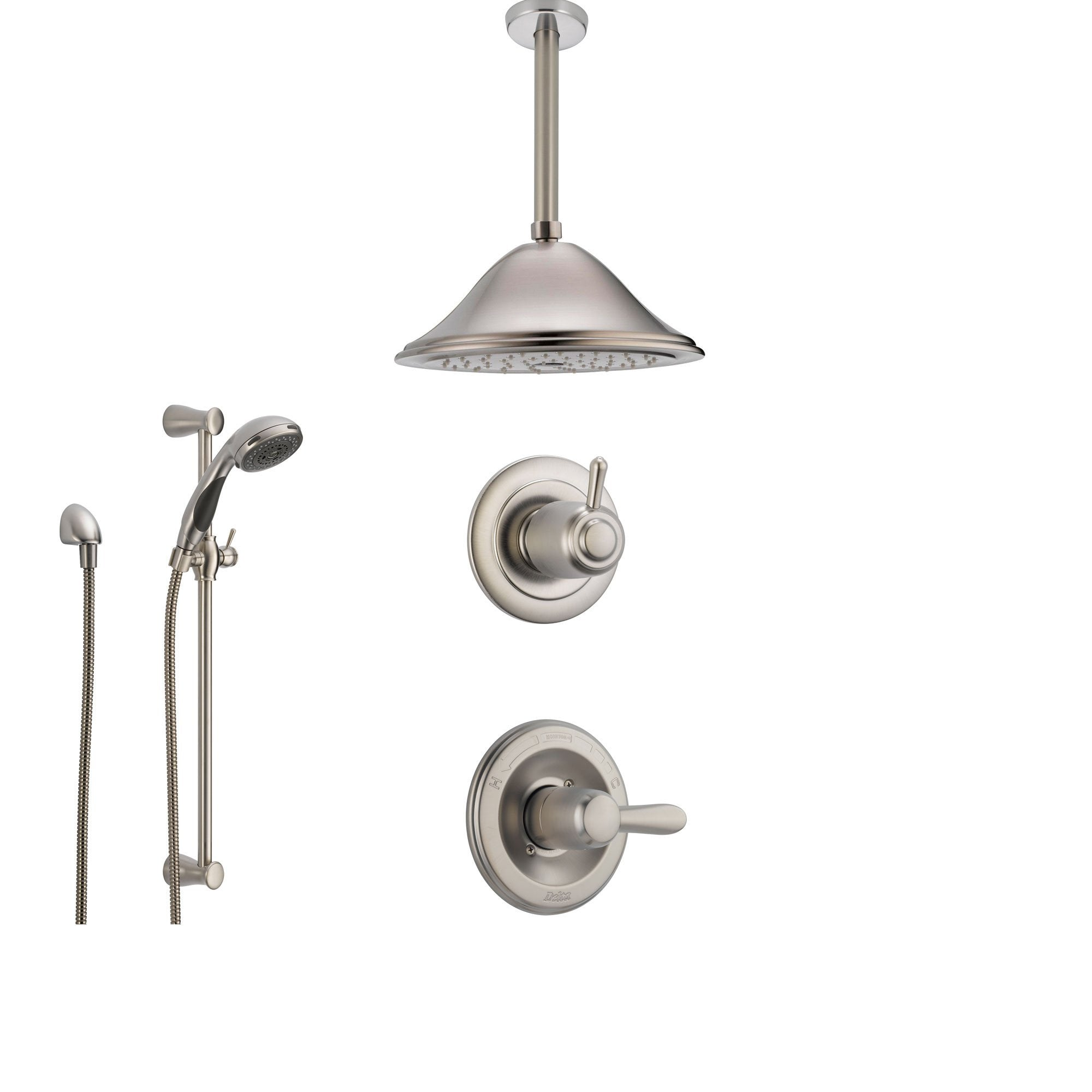 Delta Lahara Stainless Steel Shower System with Normal Shower Handle, 3-setting Diverter, Large Ceiling Mount Rain Showerhead, and Handheld Shower SS143882SS