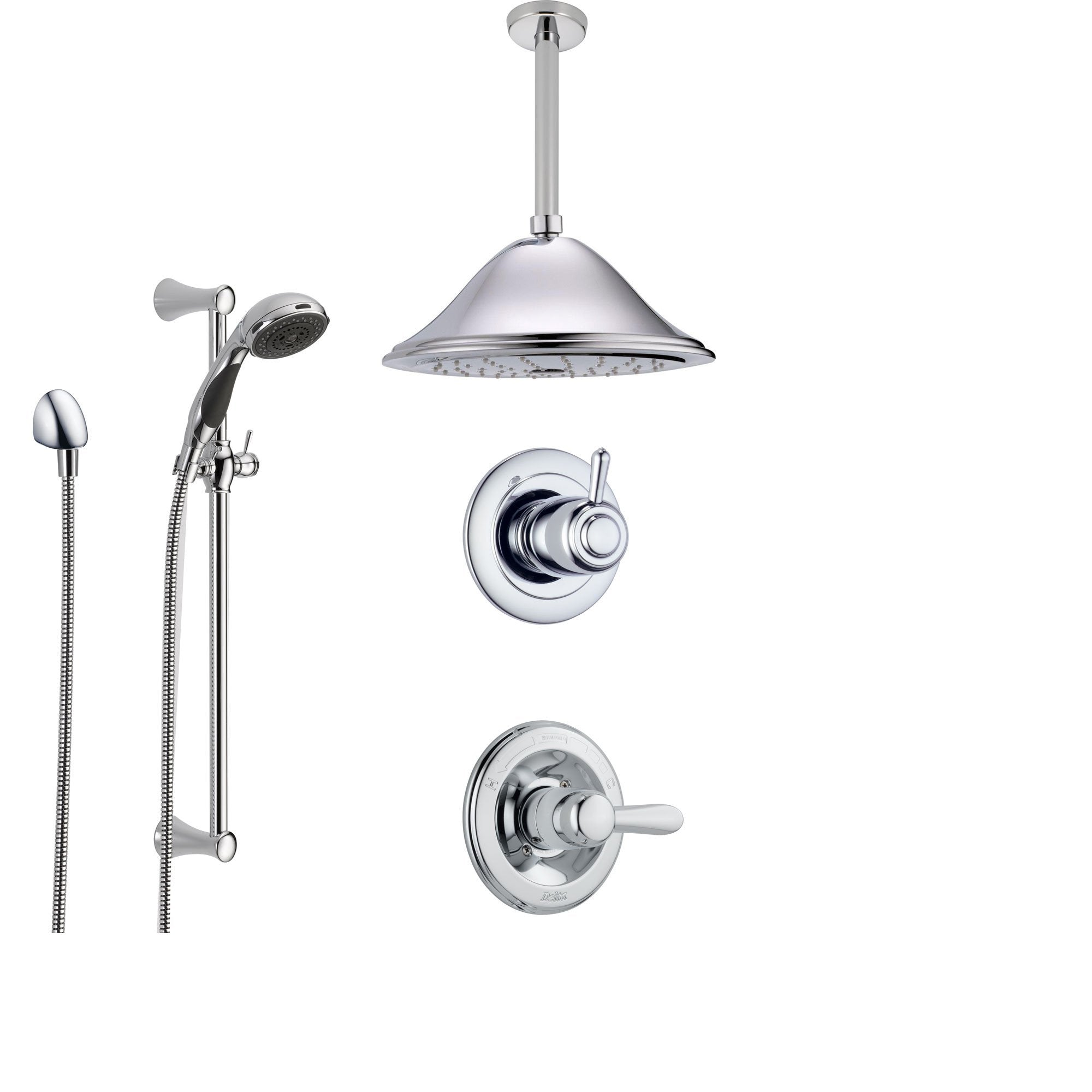 Delta Lahara Chrome Shower System with Normal Shower Handle, 3-setting Diverter, Large Ceiling Mount Rain Showerhead, and Handheld Shower SS143882