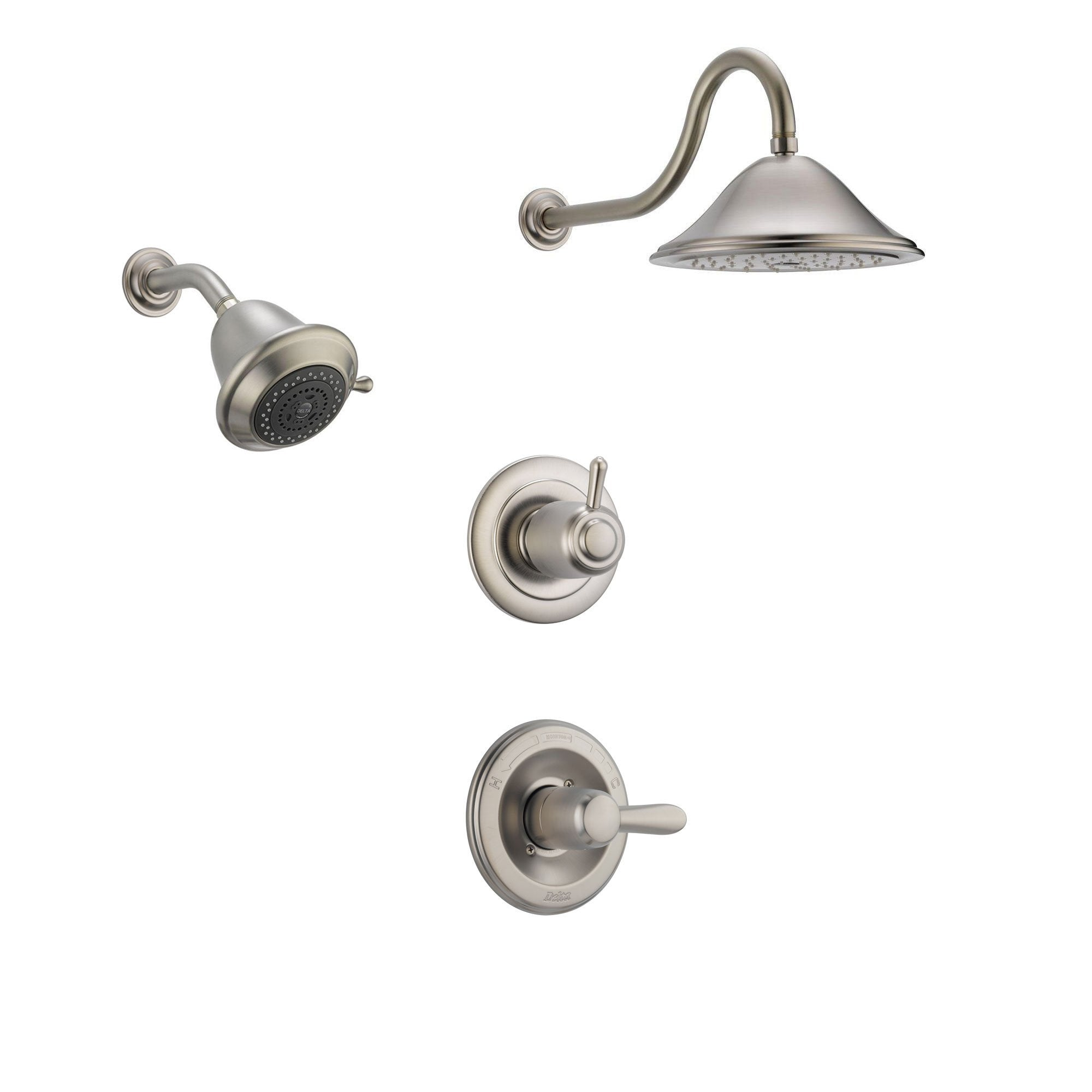 Delta Lahara Stainless Steel Shower System with Normal Shower Handle, 3-setting Diverter, Large Ceiling Mount Showerhead, and Wall Mount Showerhead SS143883SS