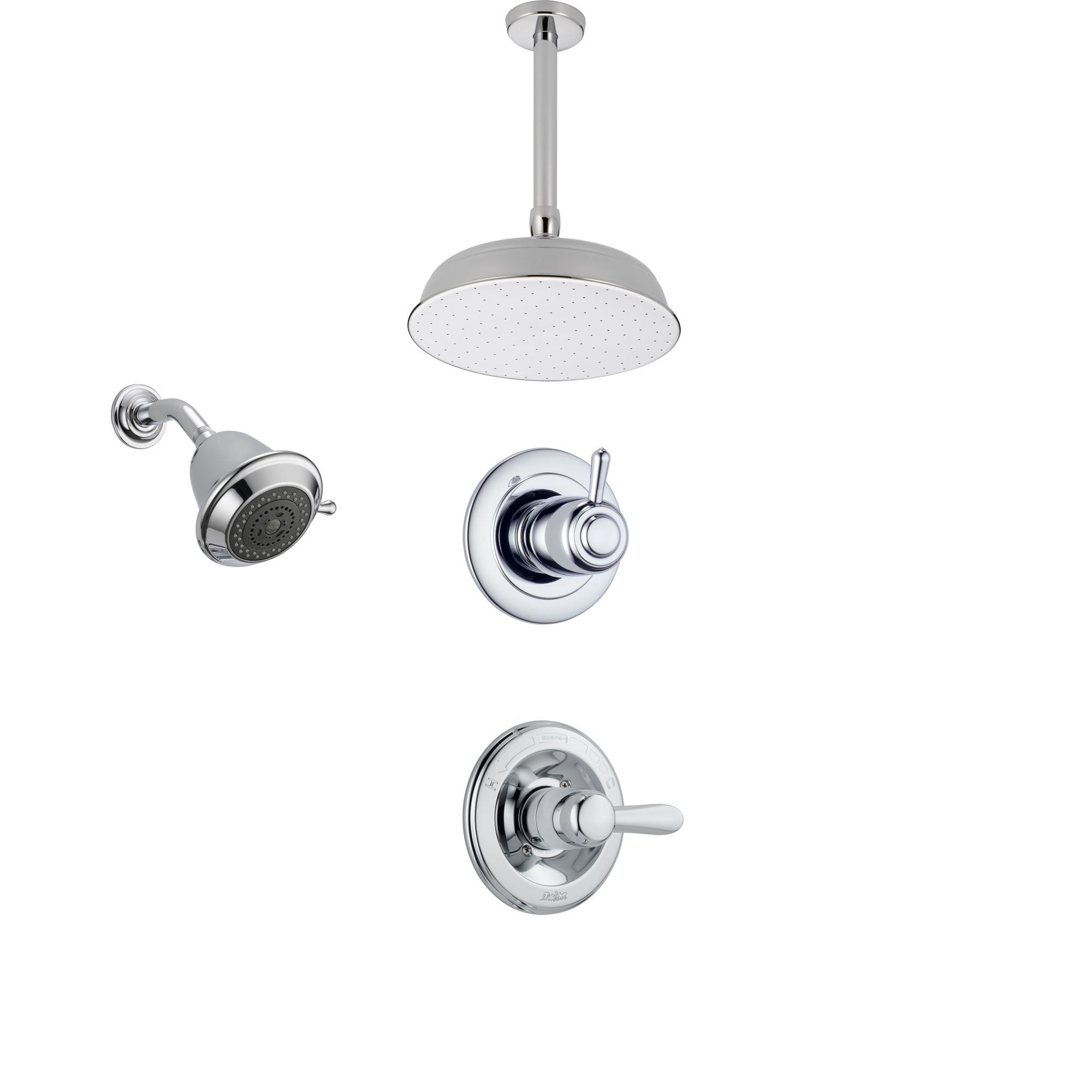 Delta Lahara Chrome Shower System with Normal Shower Handle, 3-setting Diverter, Large Ceiling Mount Rain Showerhead, and Wall Mount Showerhead SS143883