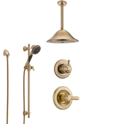 Delta Lahara Champagne Bronze Shower System with Control Handle, 3-Setting Diverter, Ceiling Mount Showerhead, and Hand Shower with Slidebar SS1438CZ3