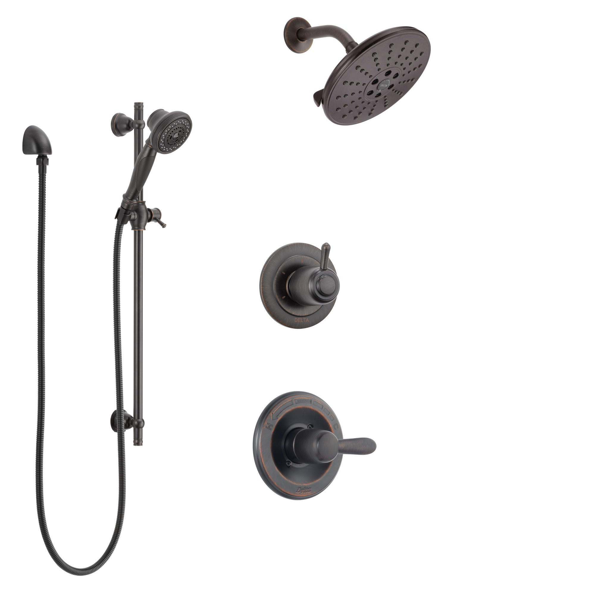 Delta Lahara Venetian Bronze Finish Shower System with Control Handle, 3-Setting Diverter, Showerhead, and Hand Shower with Slidebar SS1438RB1
