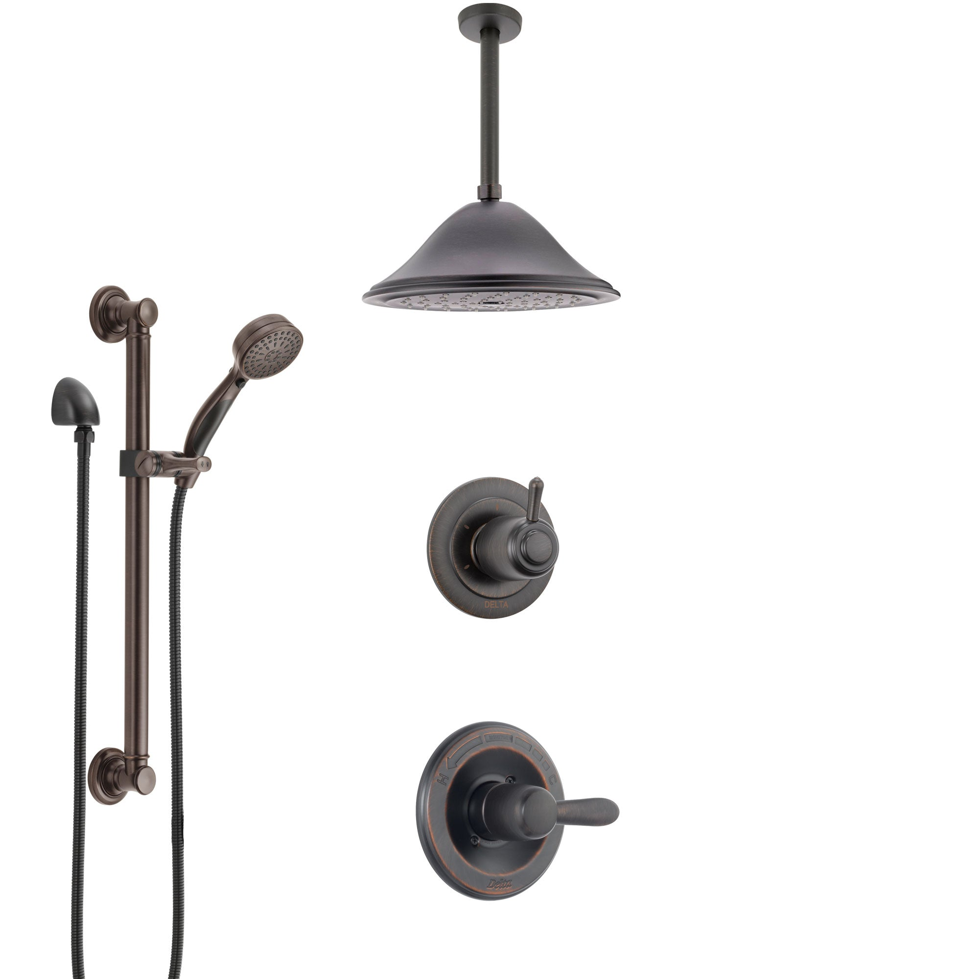 Delta Lahara Venetian Bronze Shower System with Control Handle, 3-Setting Diverter, Ceiling Mount Showerhead, and Hand Shower with Grab Bar SS1438RB8