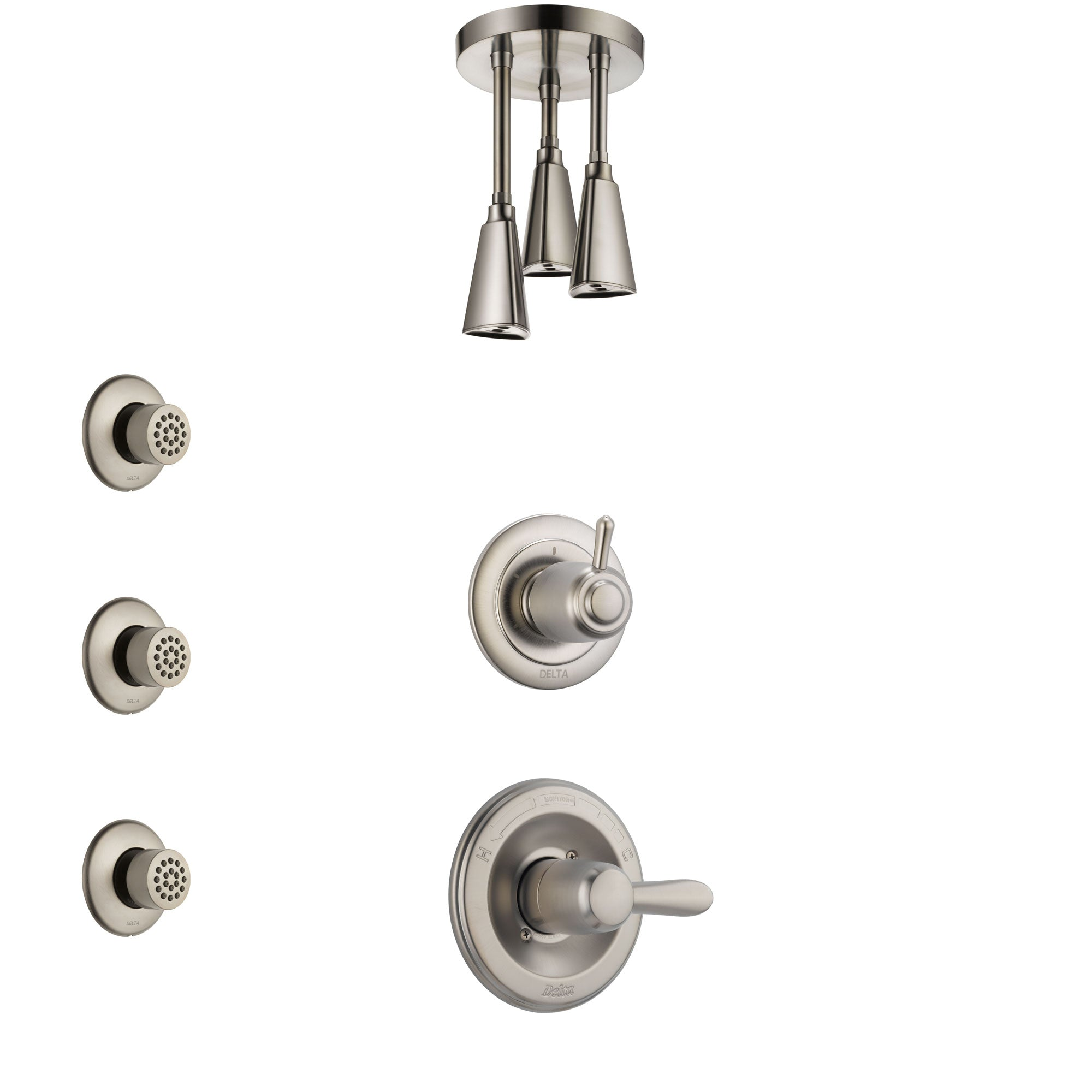Delta Lahara Stainless Steel Finish Shower System with Control Handle, 3-Setting Diverter, Ceiling Mount Showerhead, and 3 Body Sprays SS1438SS8