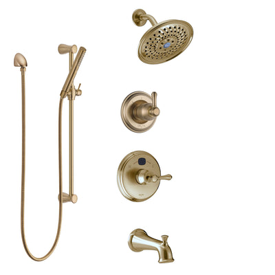 Delta Cassidy Champagne Bronze Tub and Shower System with Temp2O Control, 3-Setting Diverter, Showerhead, and Hand Shower with Slidebar SS14400CZ2