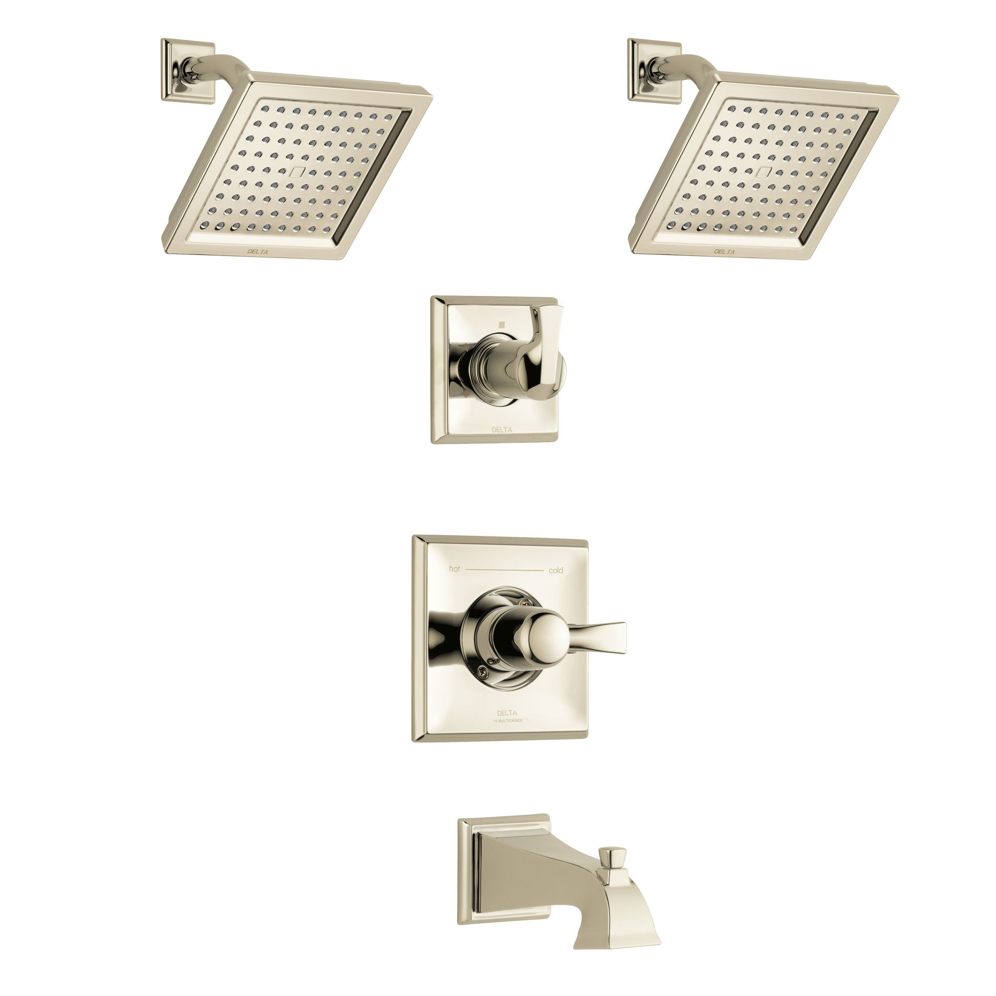 Delta Dryden Polished Nickel Finish Tub and Shower System with Control Handle, 3-Setting Diverter, 2 Showerheads SS144511PN4
