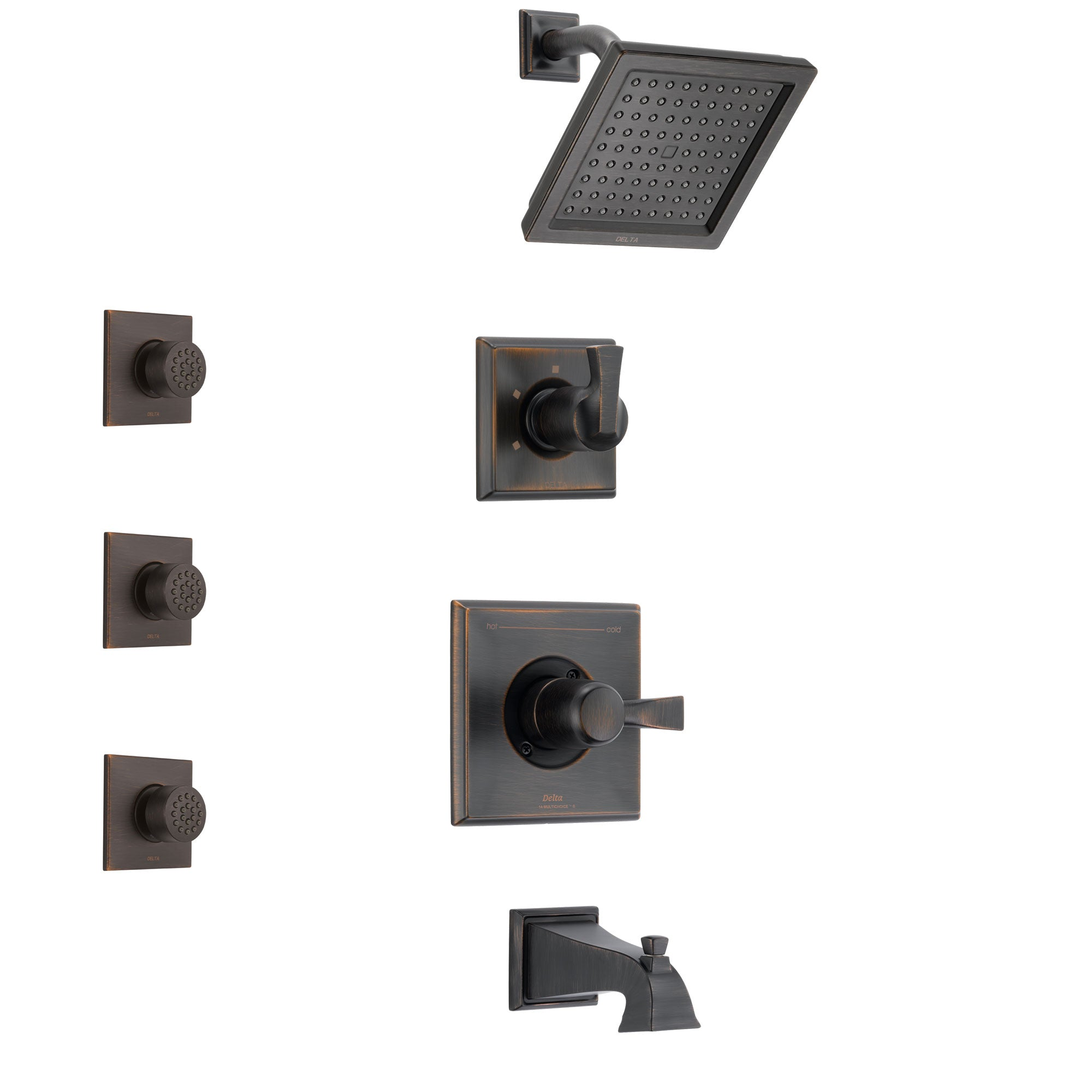 Delta Dryden Venetian Bronze Finish Tub and Shower System with Control Handle, 3-Setting Diverter, Showerhead, and 3 Body Sprays SS144511RB2