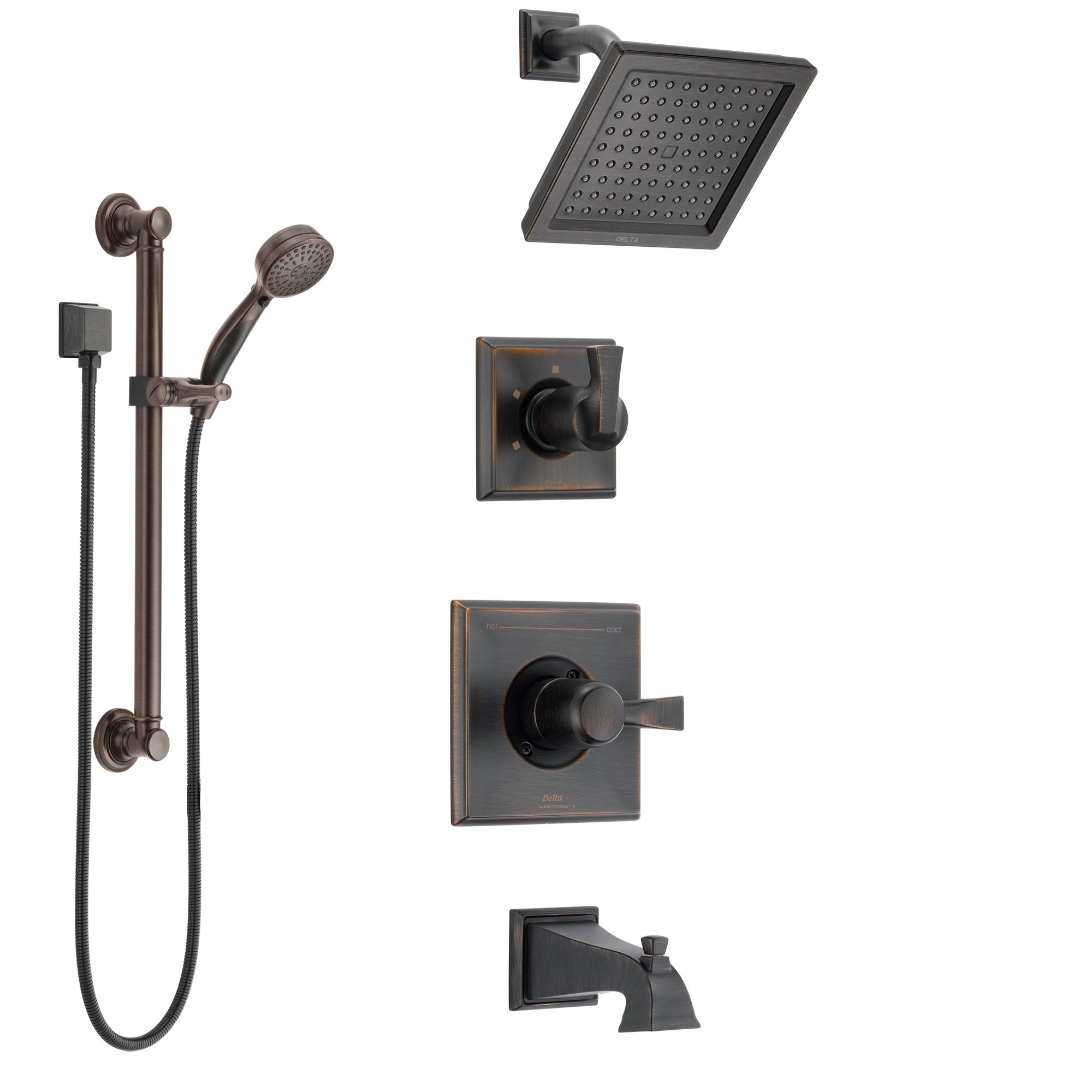Delta Dryden Venetian Bronze Tub and Shower System with Control Handle, 3-Setting Diverter, Showerhead, and Hand Shower with Grab Bar SS144511RB3