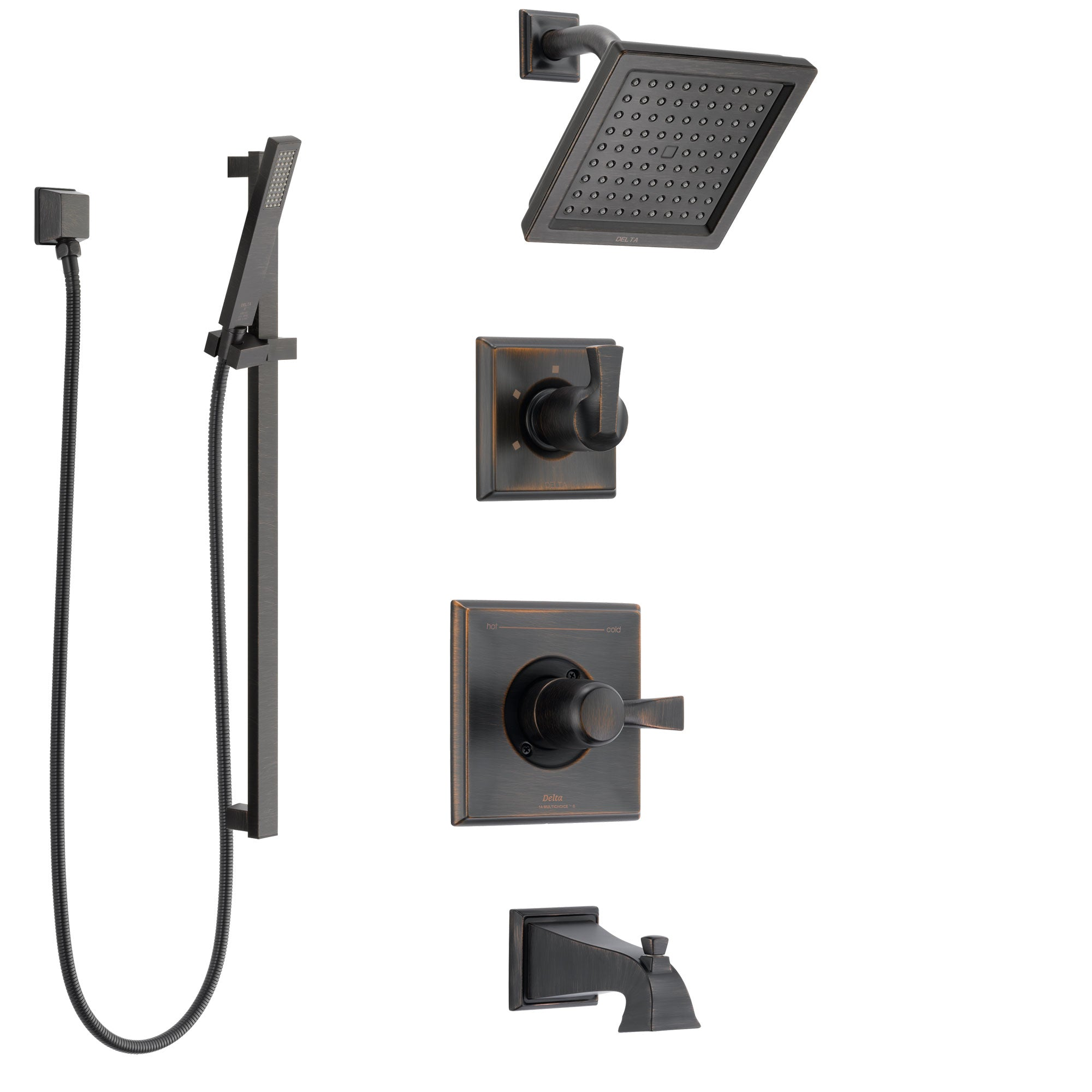Delta Dryden Venetian Bronze Tub and Shower System with Control Handle, 3-Setting Diverter, Showerhead, and Hand Shower with Slidebar SS144511RB4