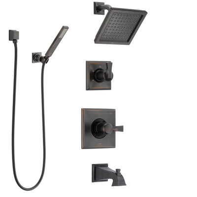 Delta Dryden Venetian Bronze Tub and Shower System with Control Handle, 3-Setting Diverter, Showerhead, and Hand Shower with Wall Bracket SS144511RB5