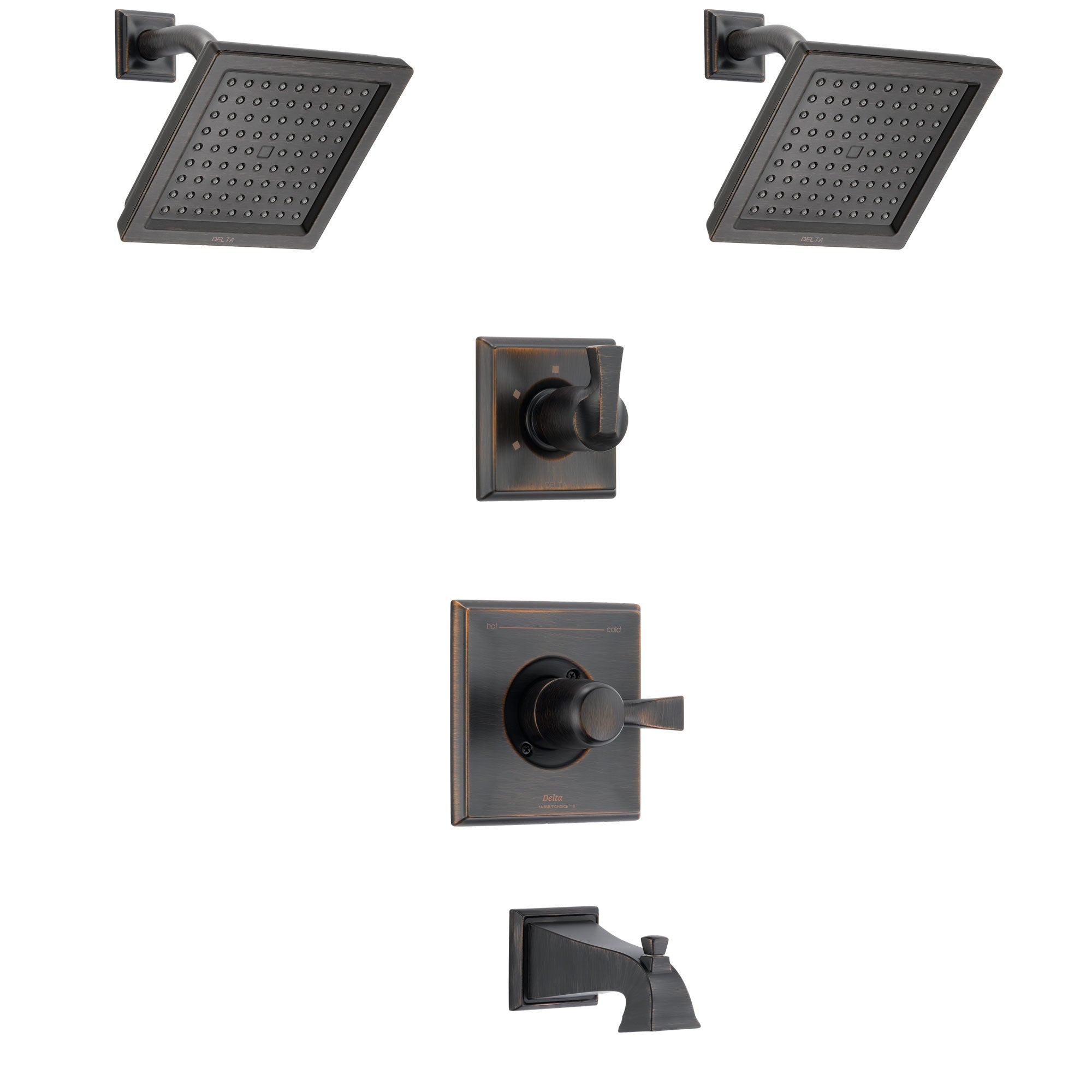 Delta Dryden Venetian Bronze Finish Tub and Shower System with Control Handle, 3-Setting Diverter, 2 Showerheads SS144511RB6