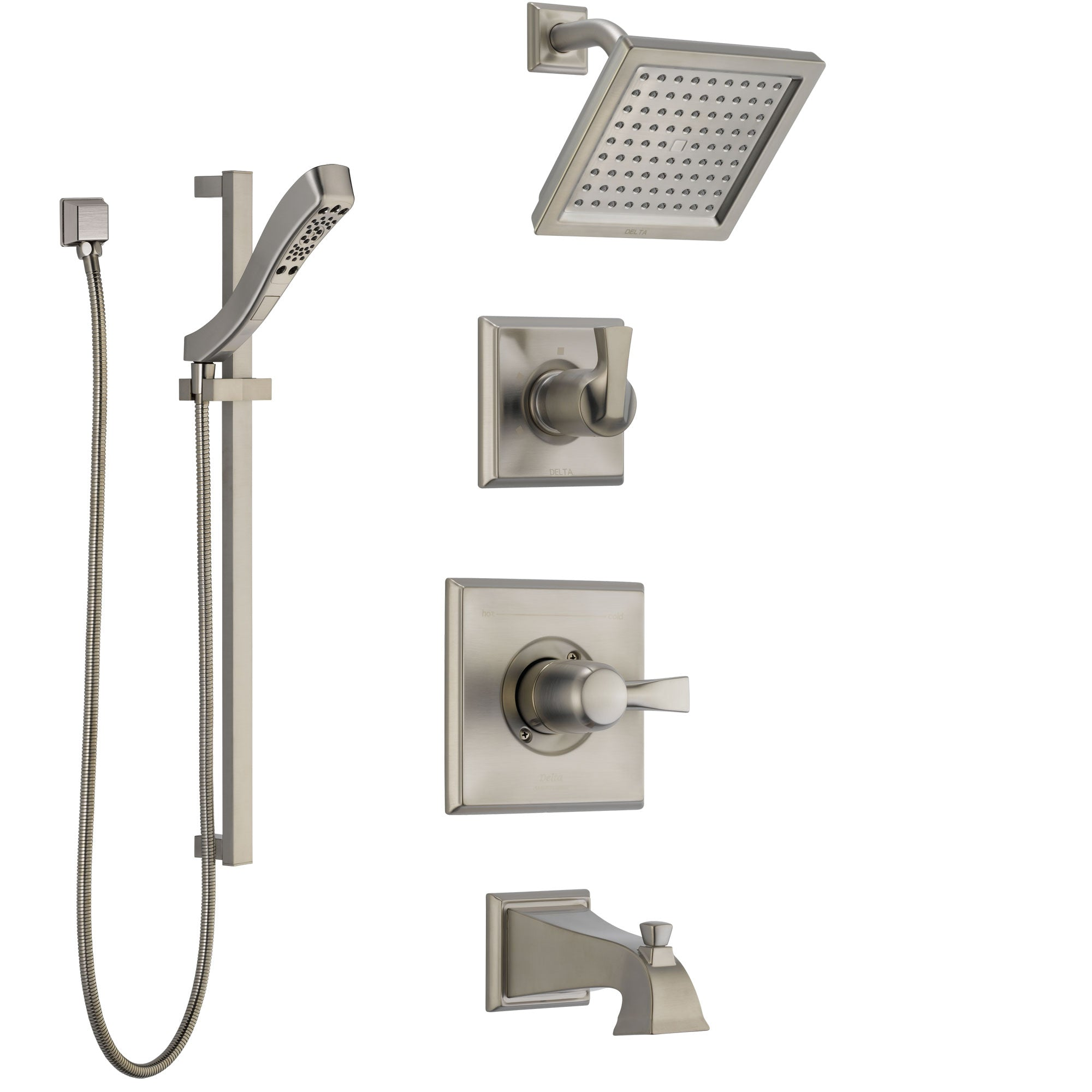Delta Dryden Stainless Steel Finish Tub and Shower System with Control Handle, Diverter, Showerhead, and Hand Shower with Slidebar SS144511SS5