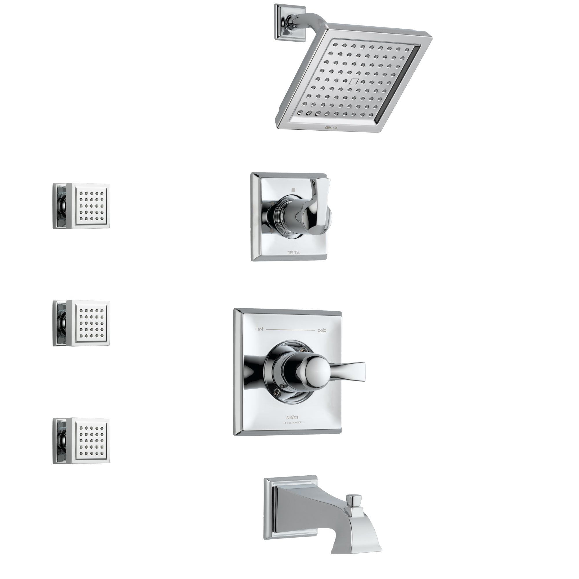 Delta Dryden Chrome Finish Tub and Shower System with Control Handle, 3-Setting Diverter, Showerhead, and 3 Body Sprays SS1445121
