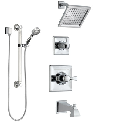 Delta Dryden Chrome Finish Tub and Shower System with Control Handle, 3-Setting Diverter, Showerhead, and Hand Shower with Grab Bar SS1445123