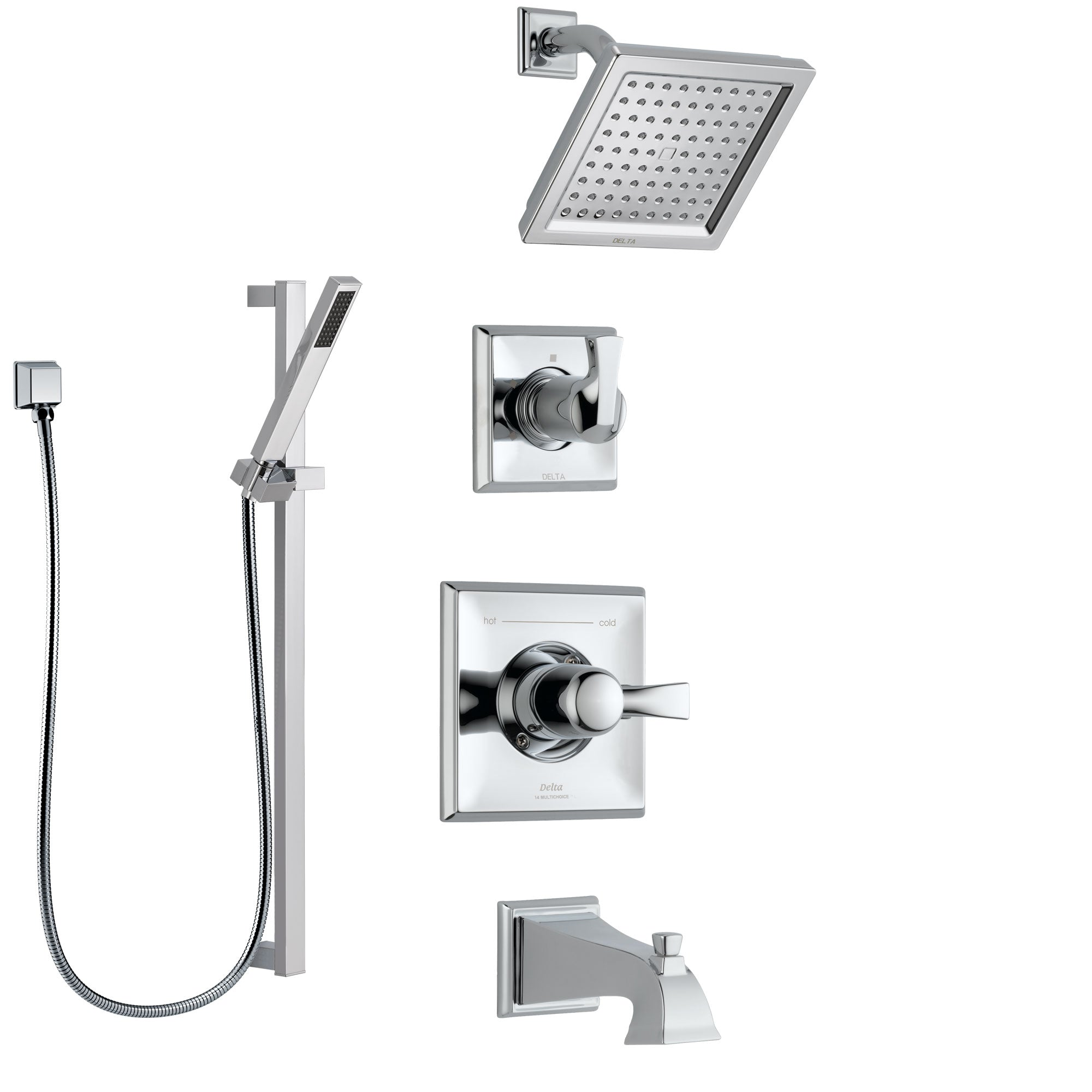 Delta Dryden Chrome Finish Tub and Shower System with Control Handle, 3-Setting Diverter, Showerhead, and Hand Shower with Slidebar SS1445124